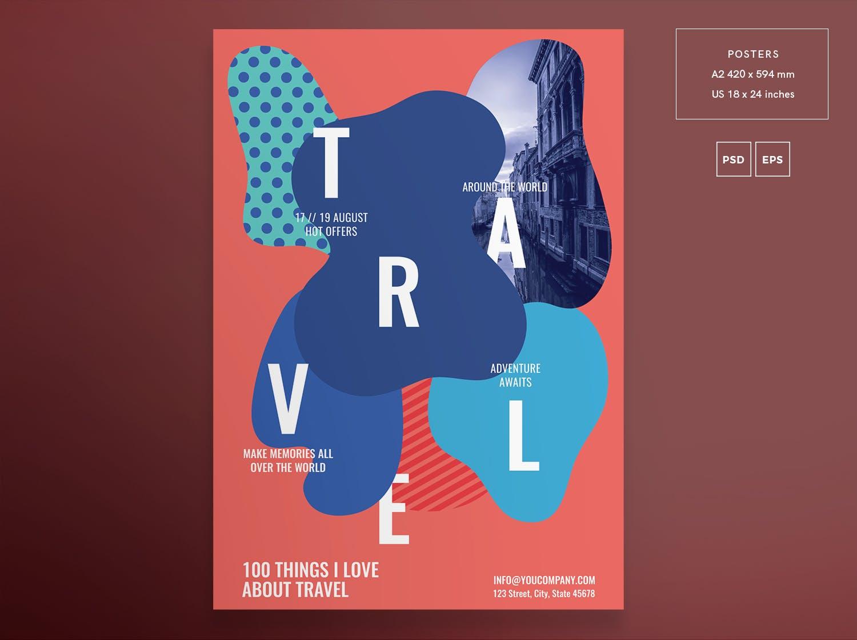 旅行社传单和海报模板Travel Agency Flyer and Poster Template Gn7ee5
