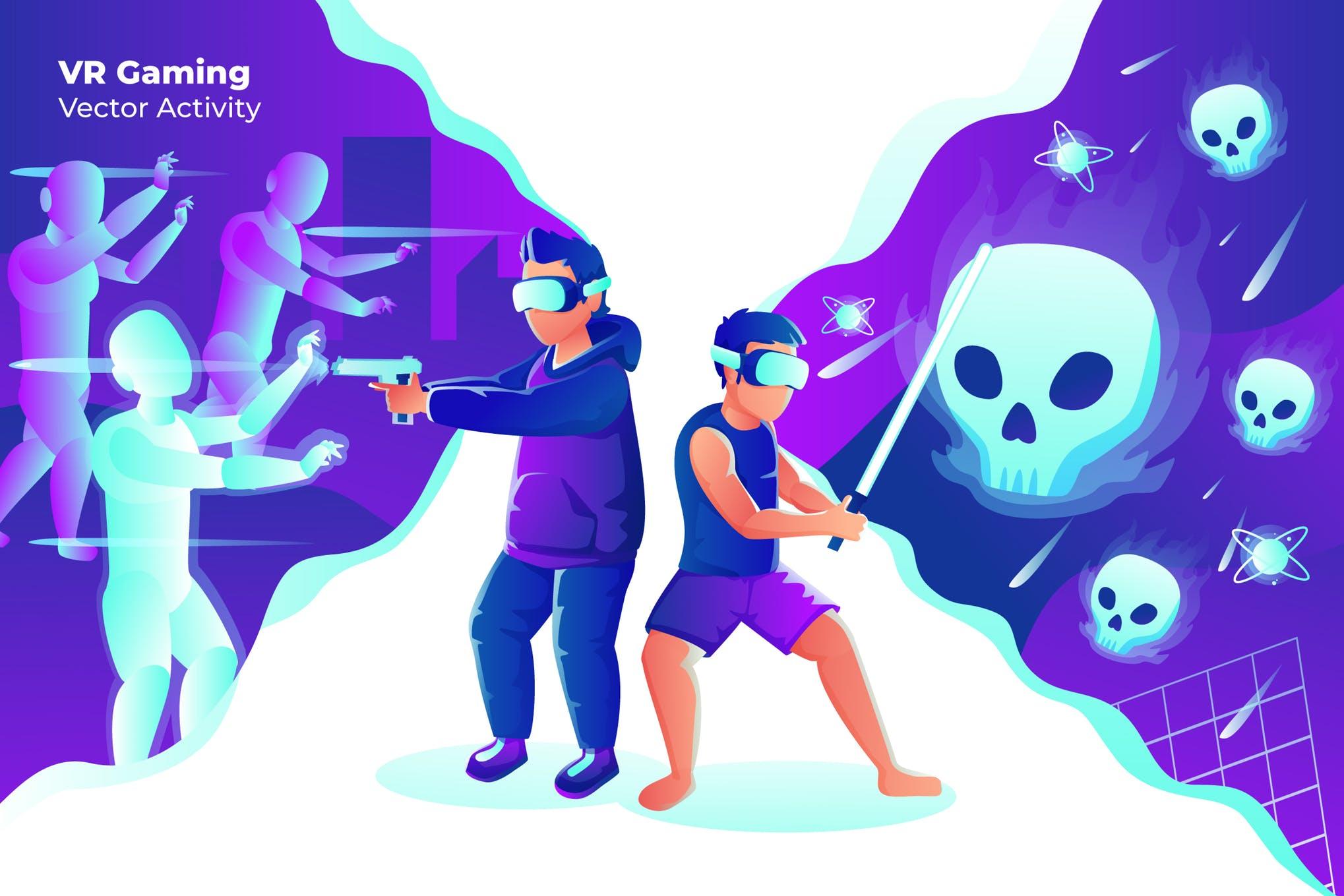 VR游戏矢量插画场景创意素材下载VR Gaming - Vector Illustration