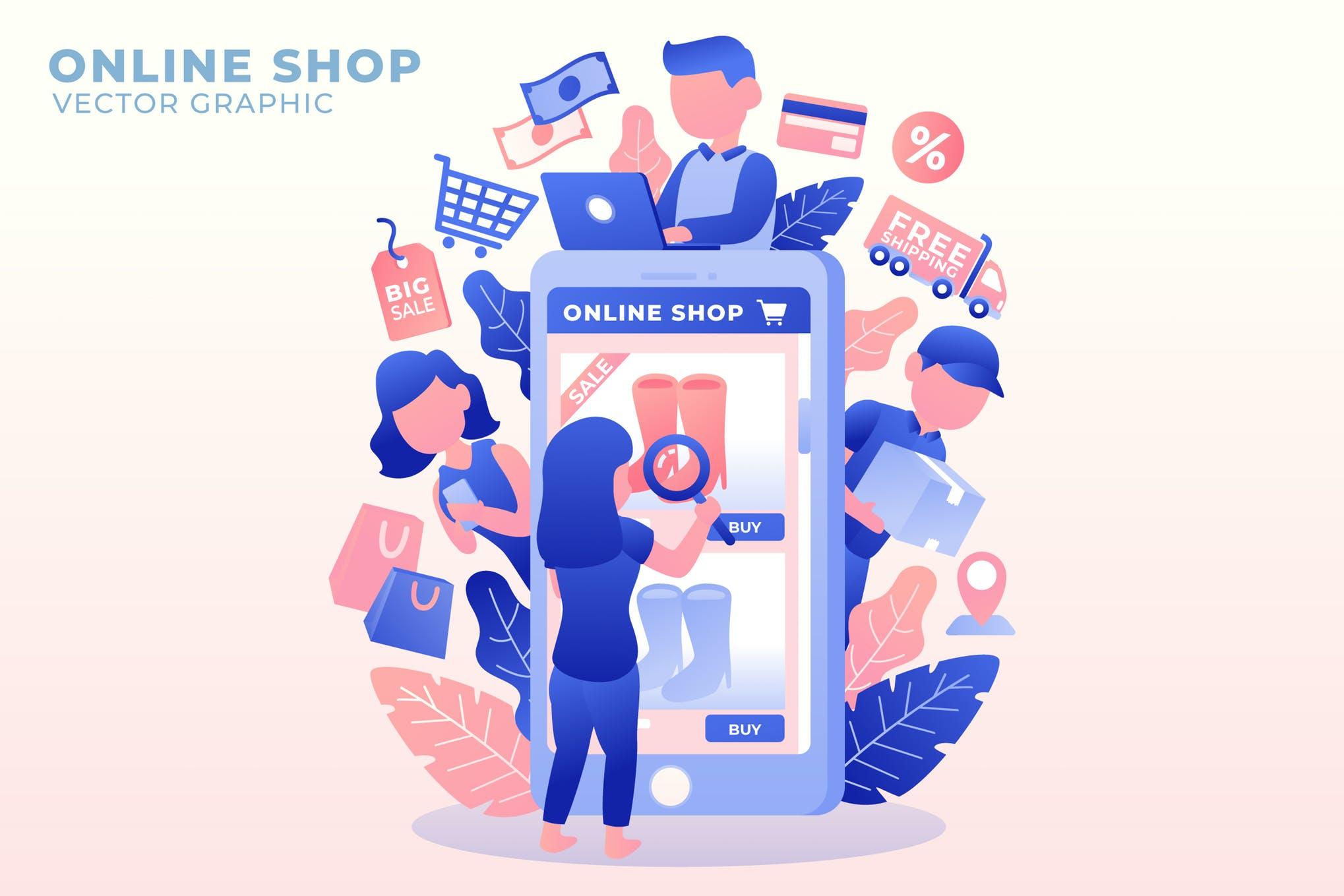 网上商店 电商购物创意插画下载Online Shop - Vector Illustration