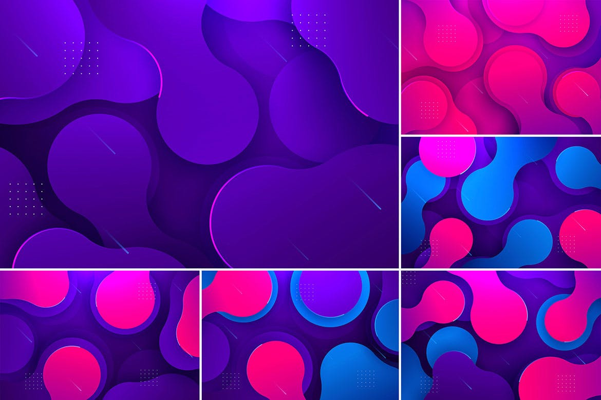 现代抽象液体背景Modern Abstract Liquid Backgrounds插图