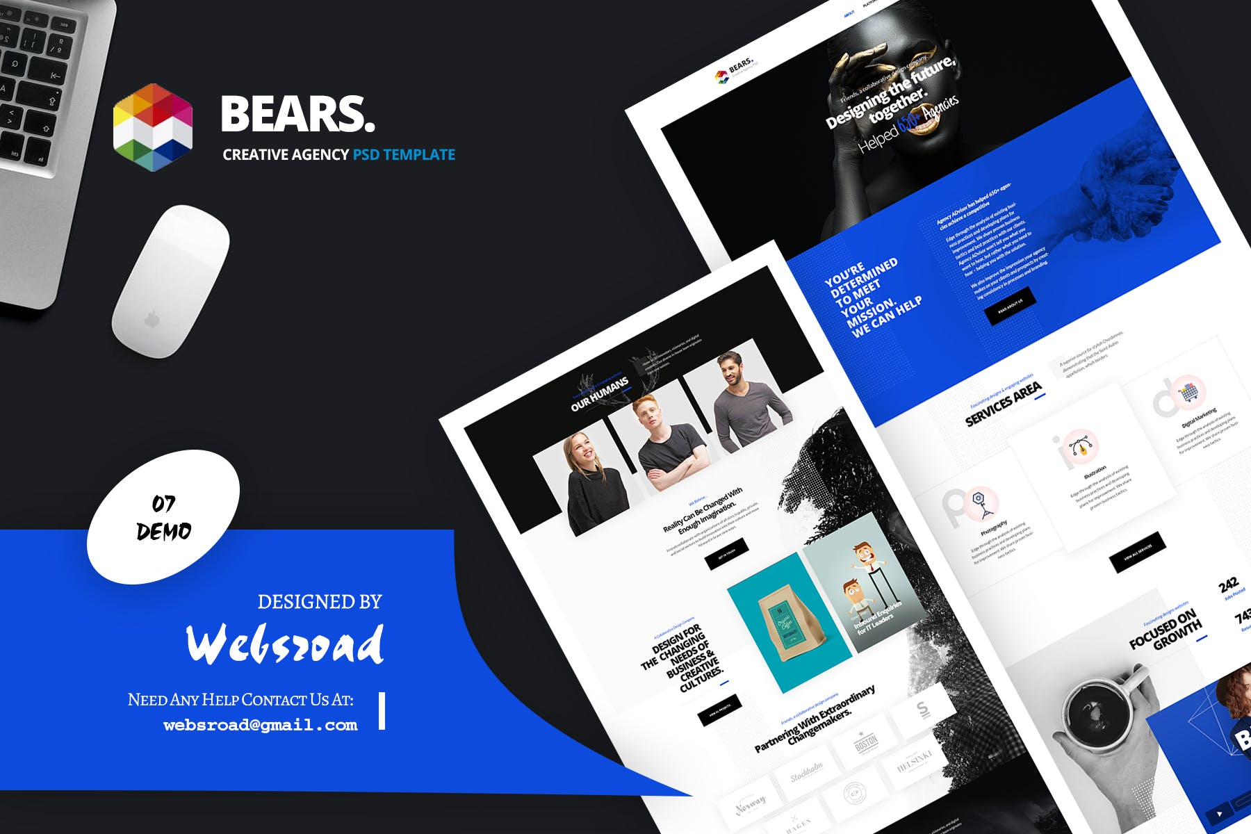 WEB端创意机构网站界面 Bear\'s - Creative Agency PSD Template