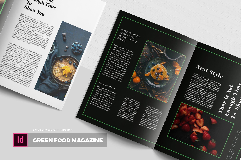 精美杂志绿色食品餐饮美食画册模板素材下载Green Food | Magazine