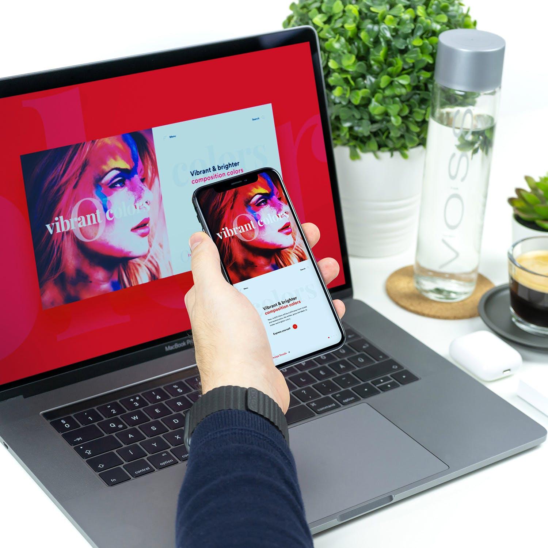 手机电脑样机模板素材智能贴图模板 Responsive App Mockup Macbook Pro iPhone X Vol 1