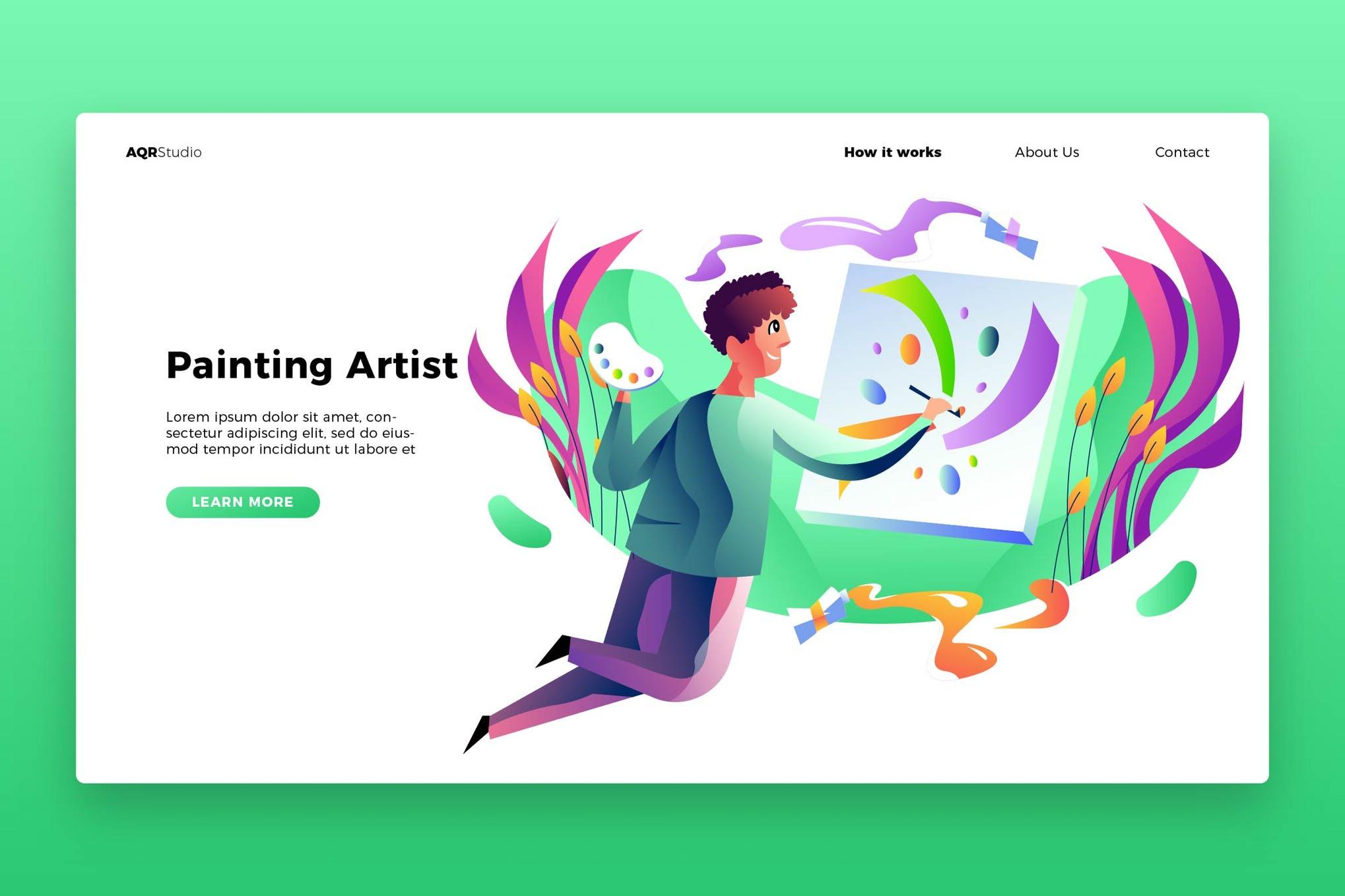 绘画场景素材模板展示效果图样机Paint Artist - Banner & Landing Page