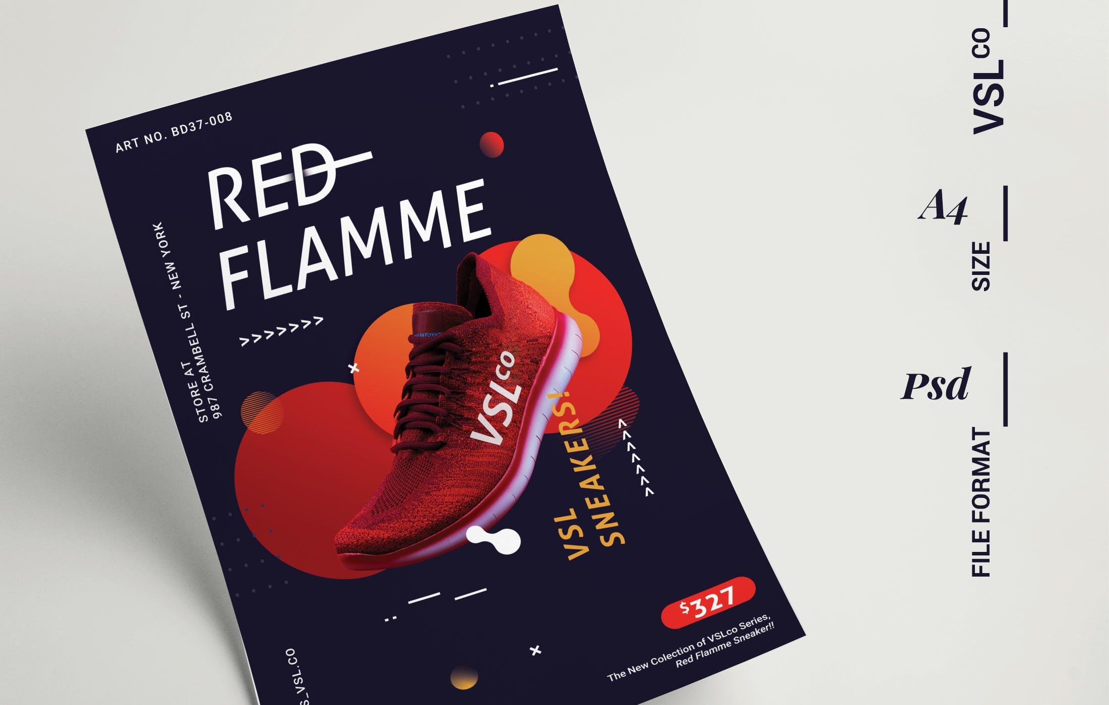 青年运动海报/传单模板展示素材Shoes Poster