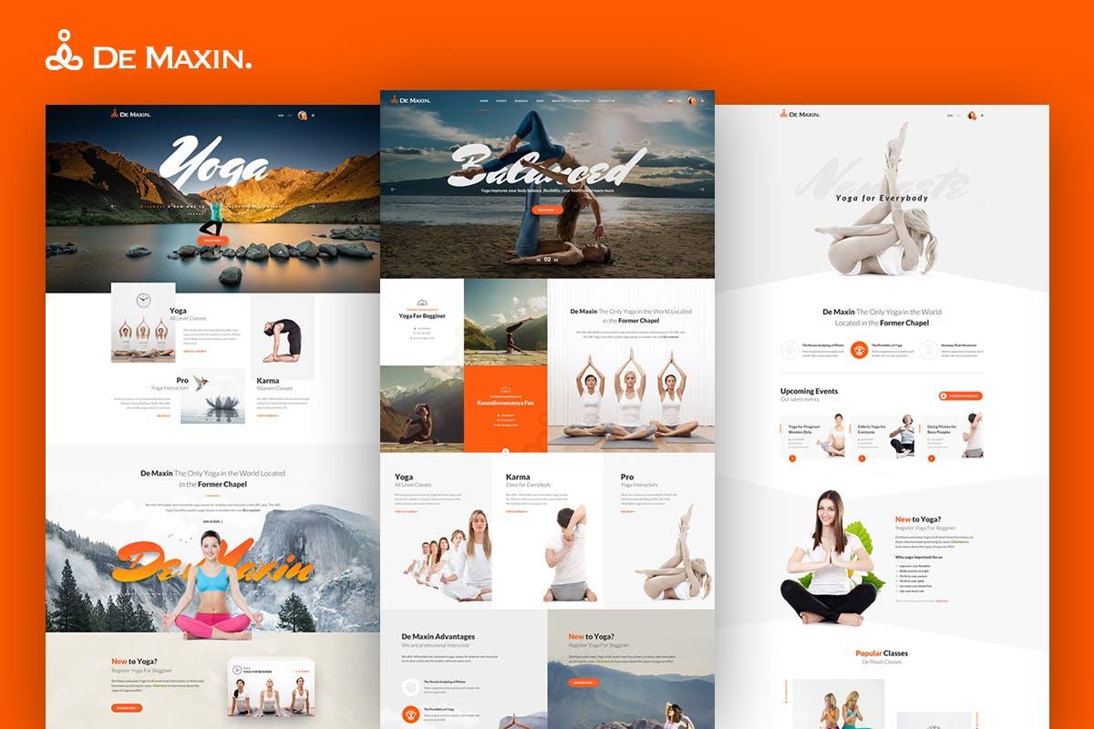 WEB端健身瑜伽网站PSD模版 De Maxin - Yoga PSD Template