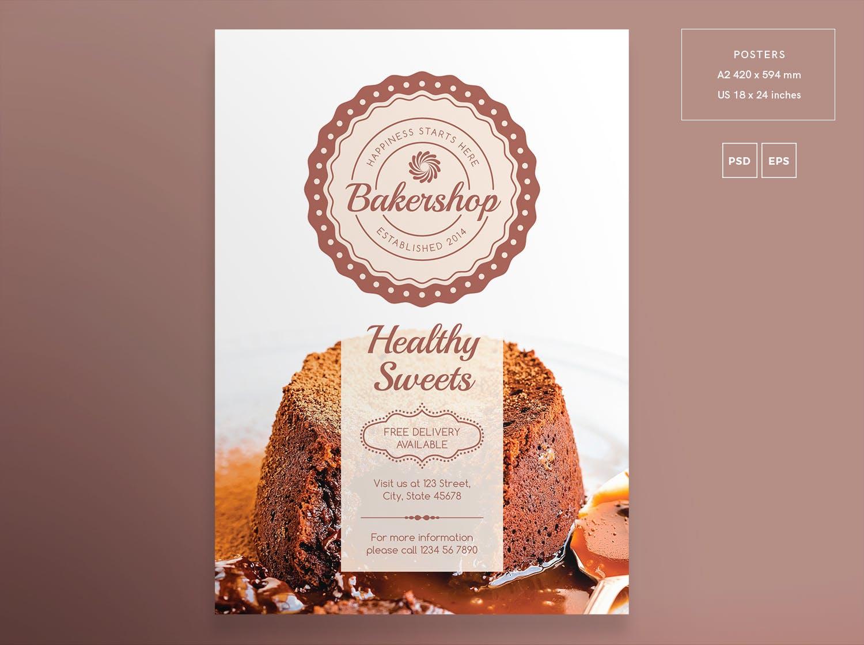 贝克店面包传单和海报模板样机素材Baker Shop Flyer and Poster Template