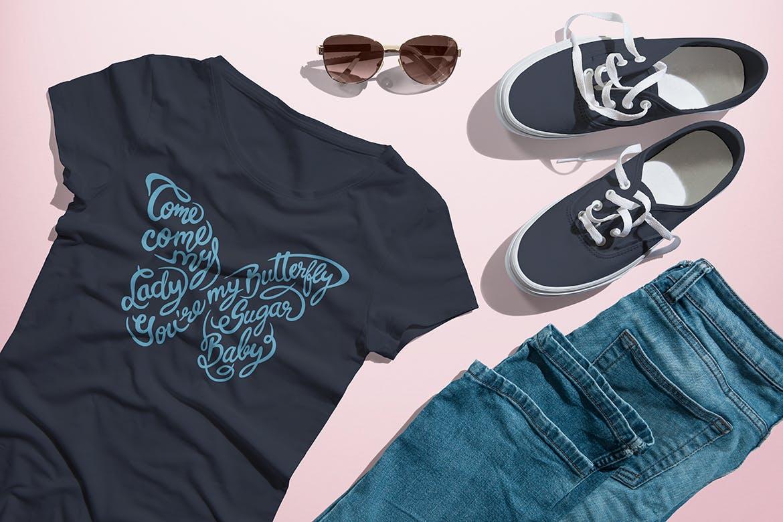 圆领T恤模拟女版服装搭配套装素材模板样机展示Crew Neck T-shirt Mock-up Female Version  77tq6d