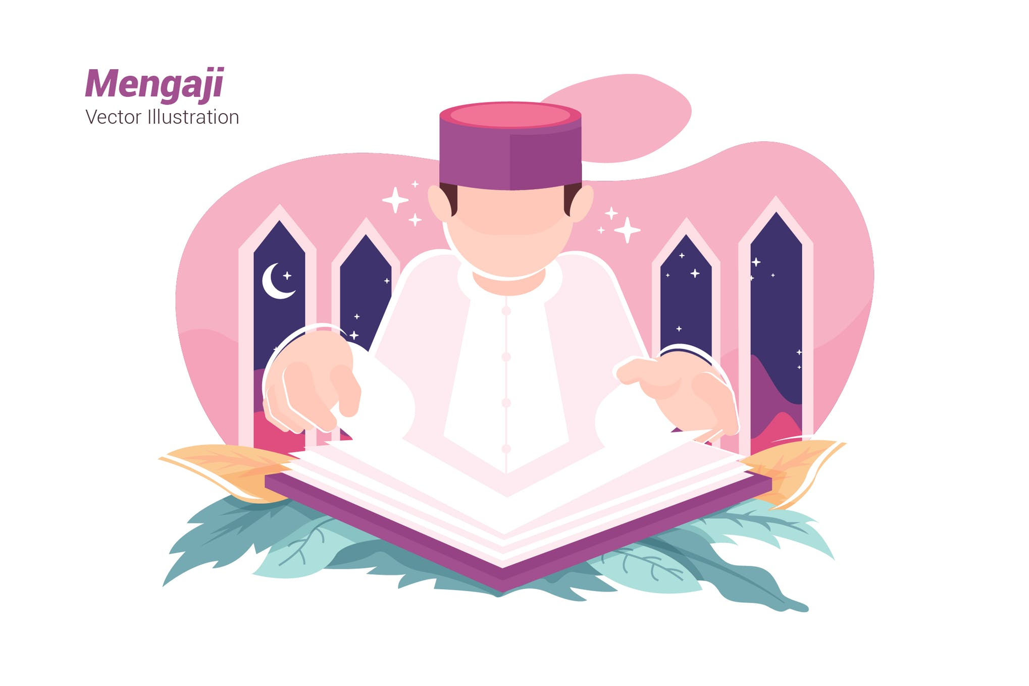 学习场景模板素材下载Recites Quran - Vector Illustration