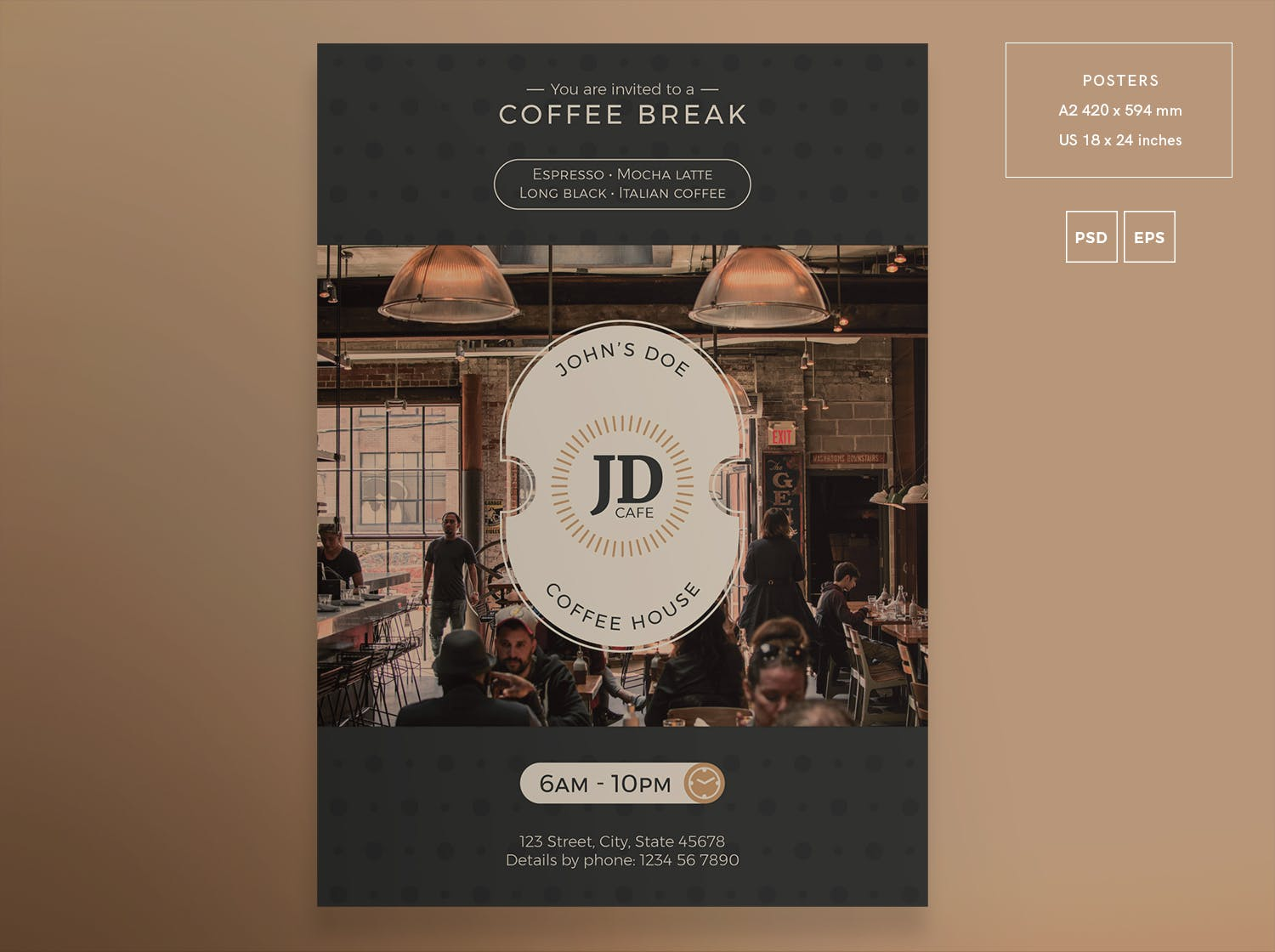 咖啡酒吧传单和海报模板Coffee Bar Flyer and Poster Template