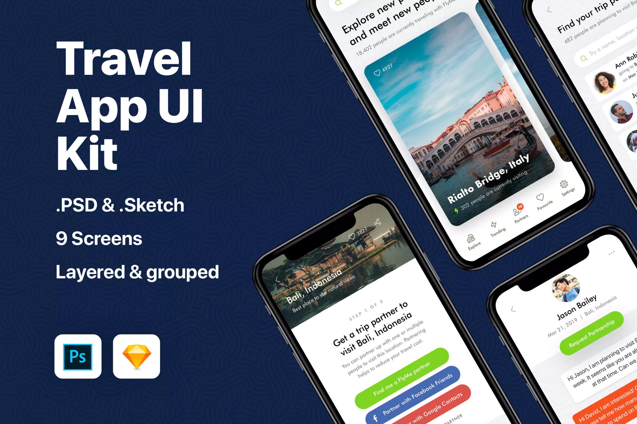 IOS12风格国外旅游行业APP Travel App UI Kit-设计石代