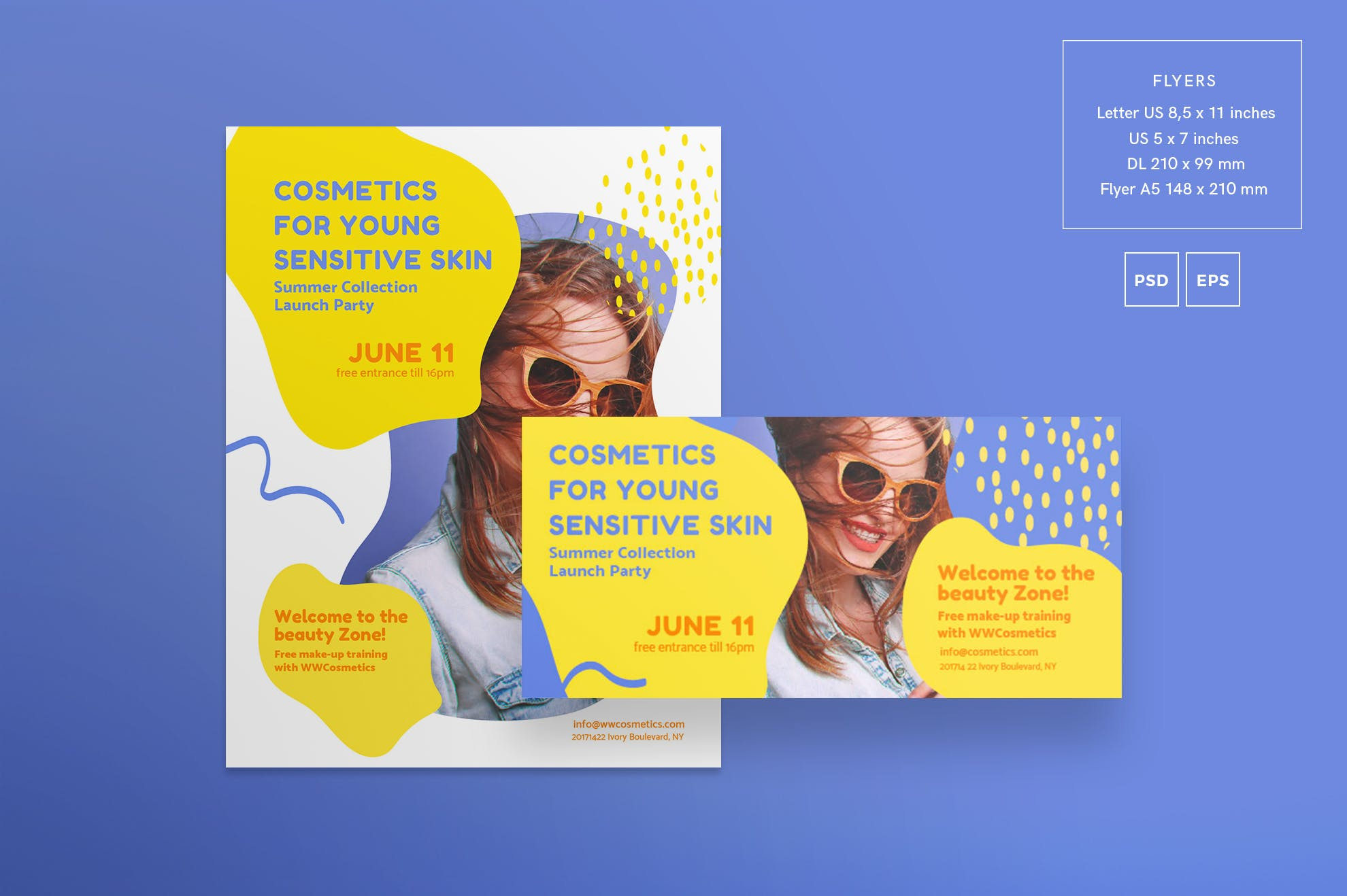 化妆品集合传单和海报模板Cosmetics Collection Flyer and Poster Template