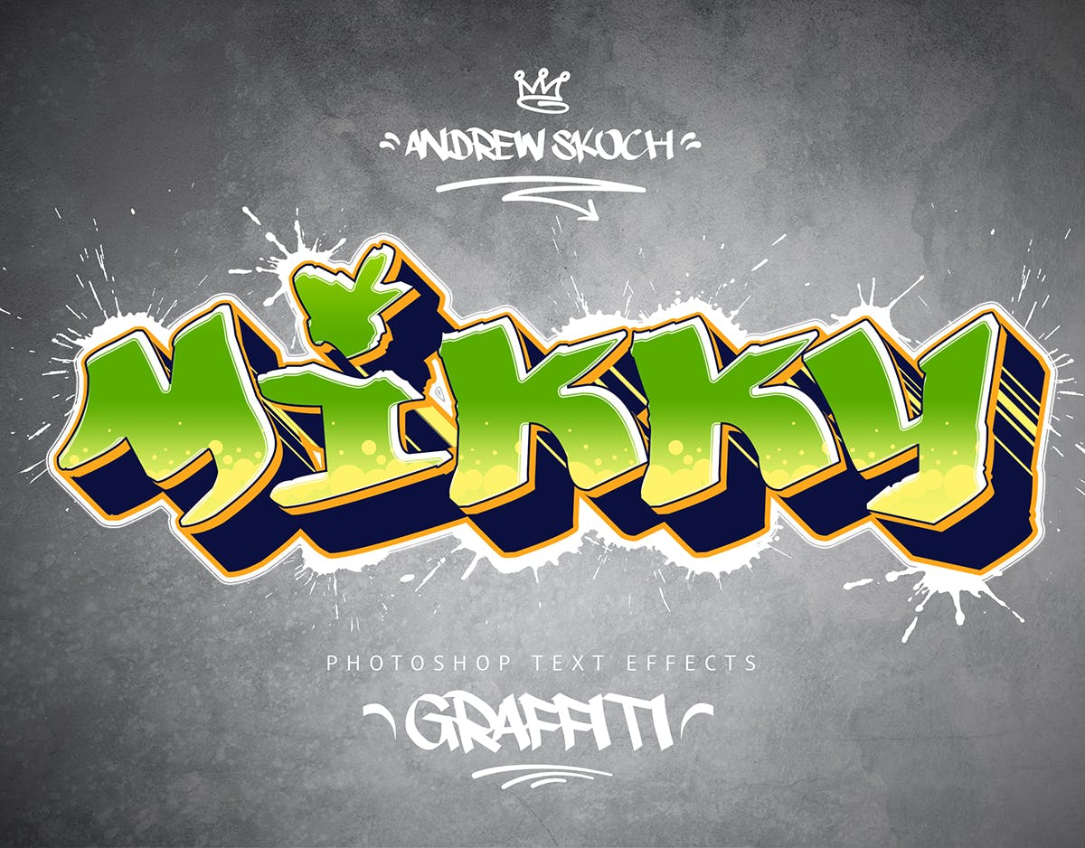 涂鸦文字3D卡通特效效果 - 10 PSD样式 Graffiti Text Effects - 10 PSD - vol.1