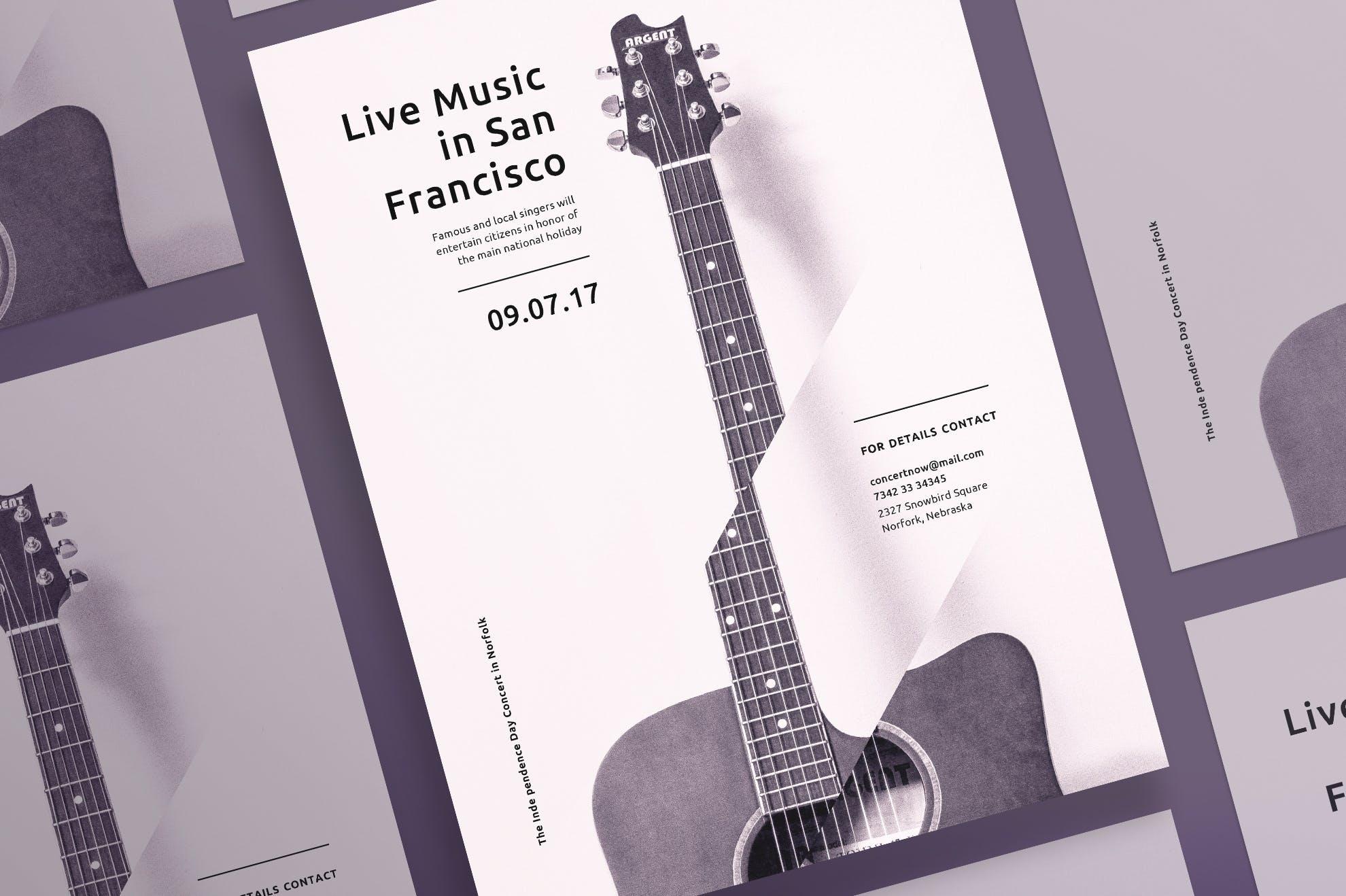 音乐会音乐会传单和海报模板Music Concert Flyer and Poster Template