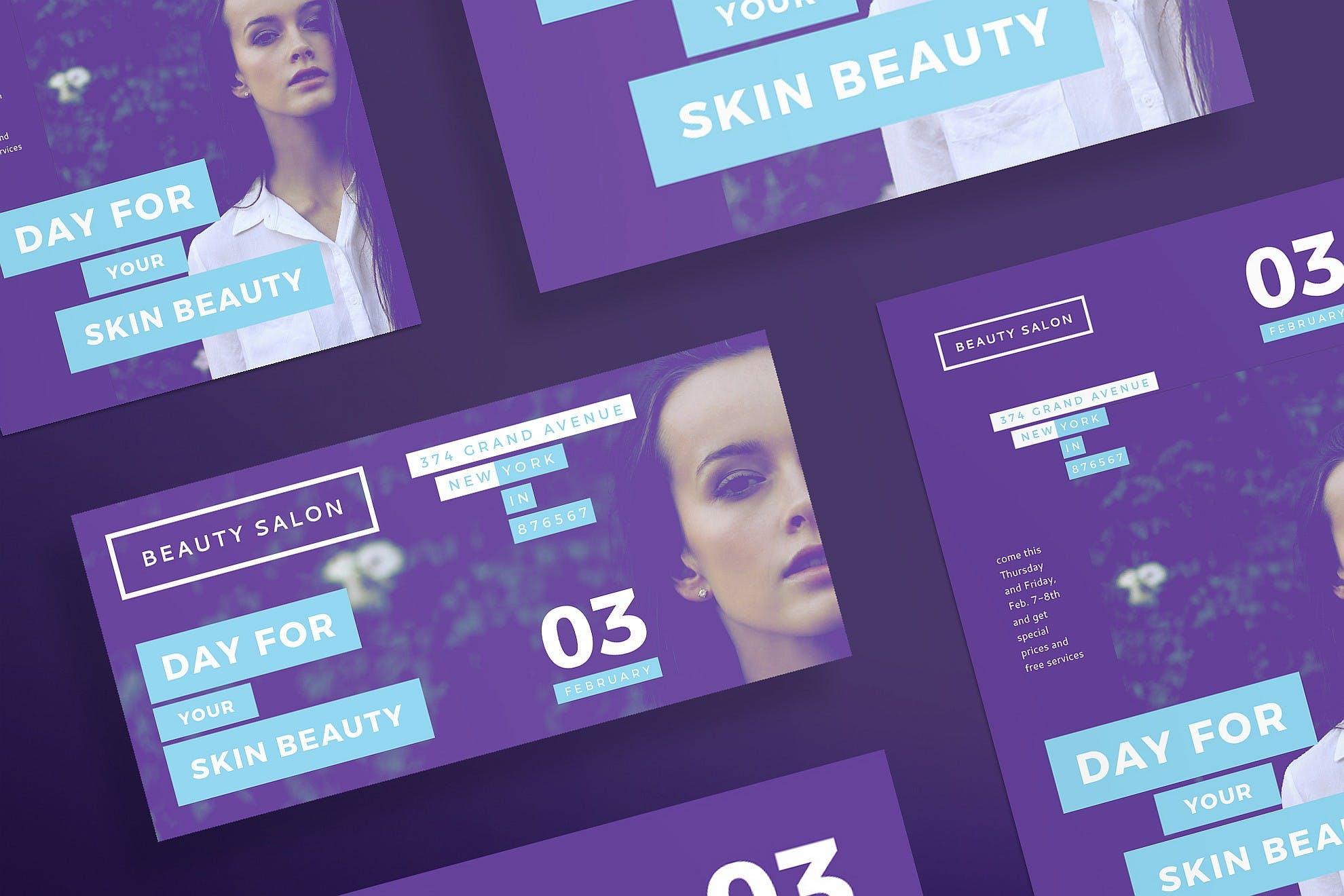 美容沙龙传单和海报模板Beauty Salon Flyer and Poster Template