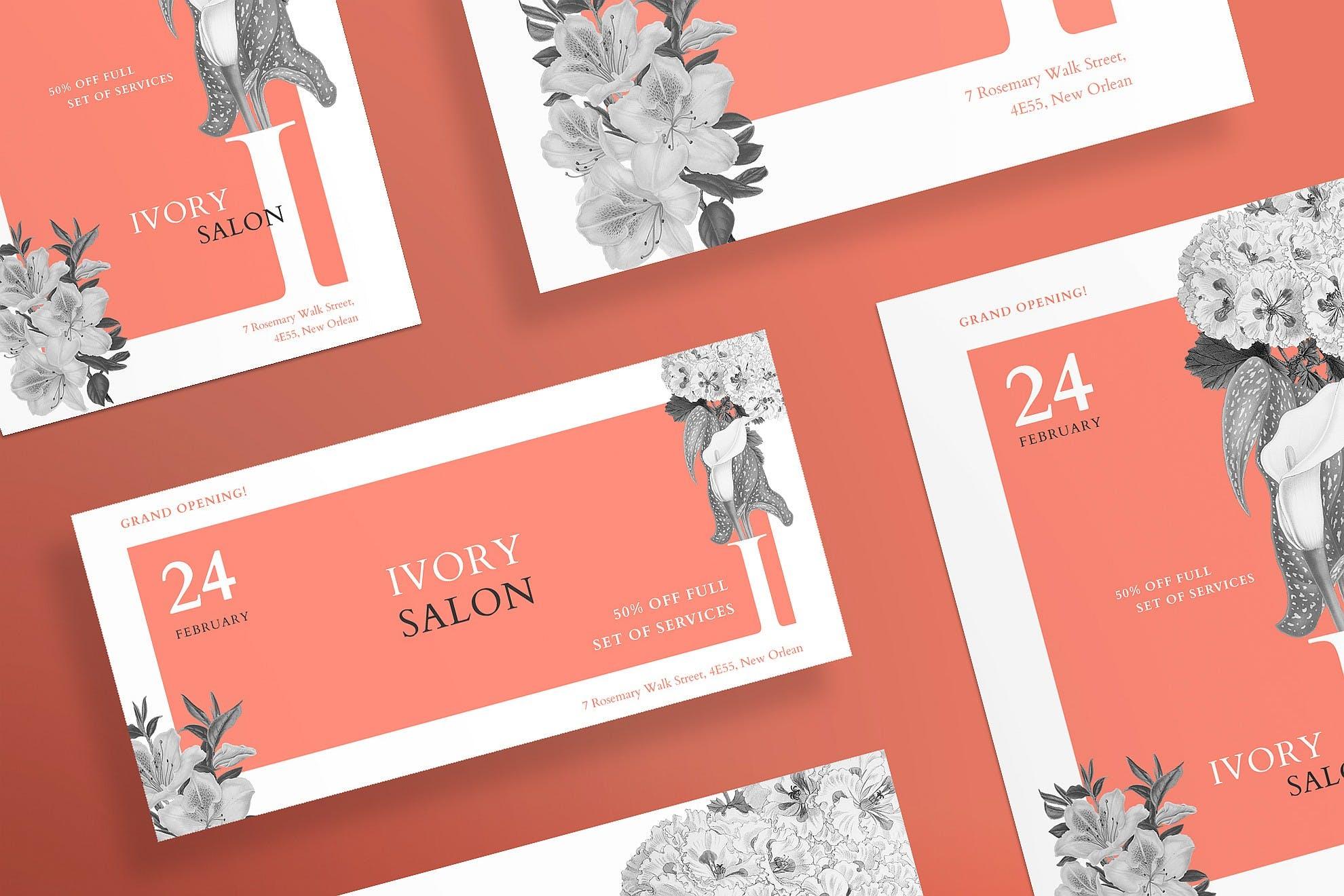 美容沙龙传单和海报模板Beauty Salon Flyer and Poster Template Tqdtcj