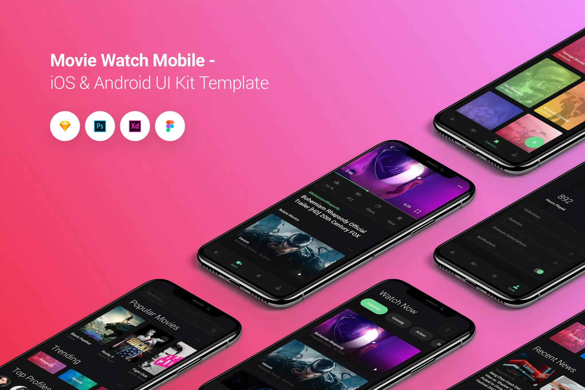 精美IOS风格时尚电影应用APP移动iOS和Android UI工具包模板  Movie Watch Mobile iOS & Android UI Kit Template by PanoplyStore
