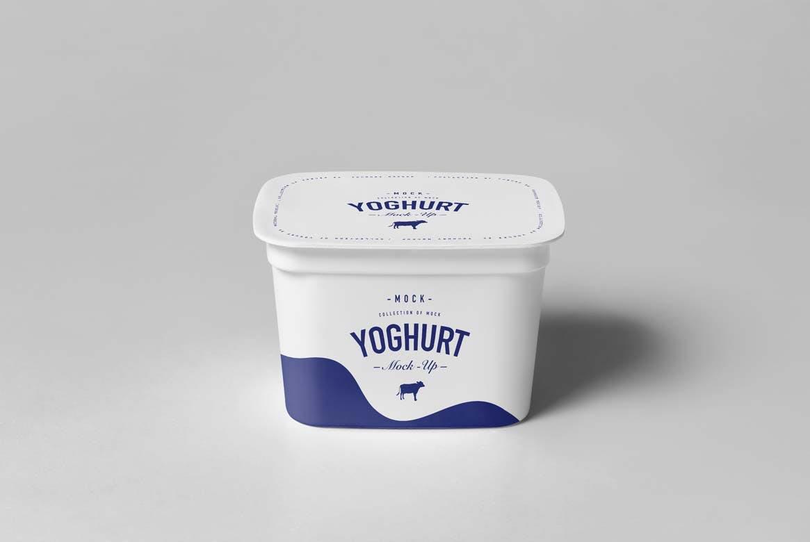 酸奶不同尺寸包装盒样机素材模板展示下载Yoghurt Cup Mock-up 2