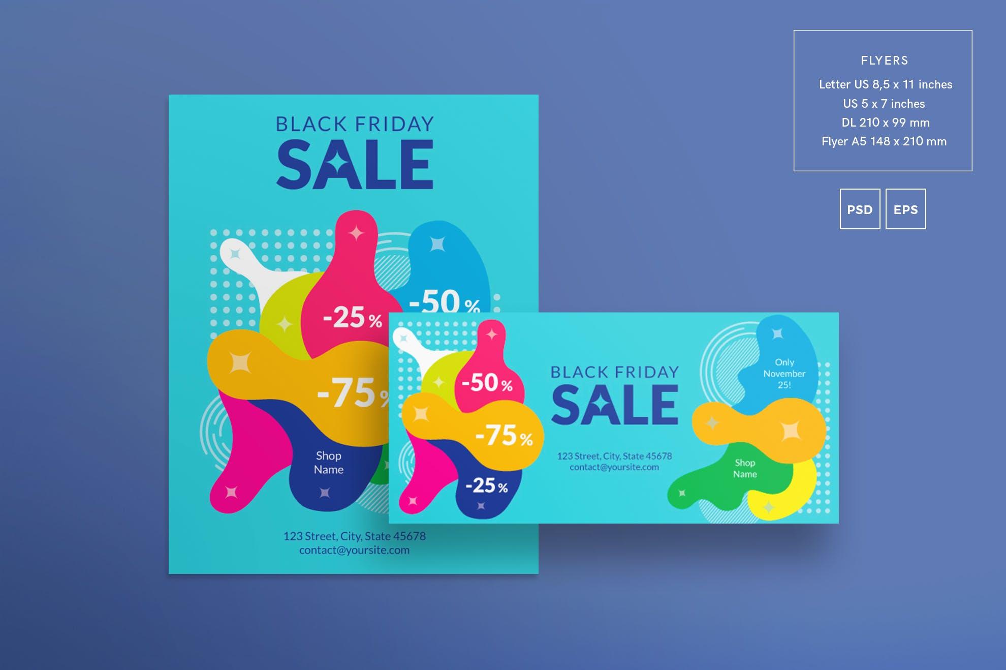 黑色星期五销售传单和海报模板Black Friday Sale Flyer and Poster Template 292pb4