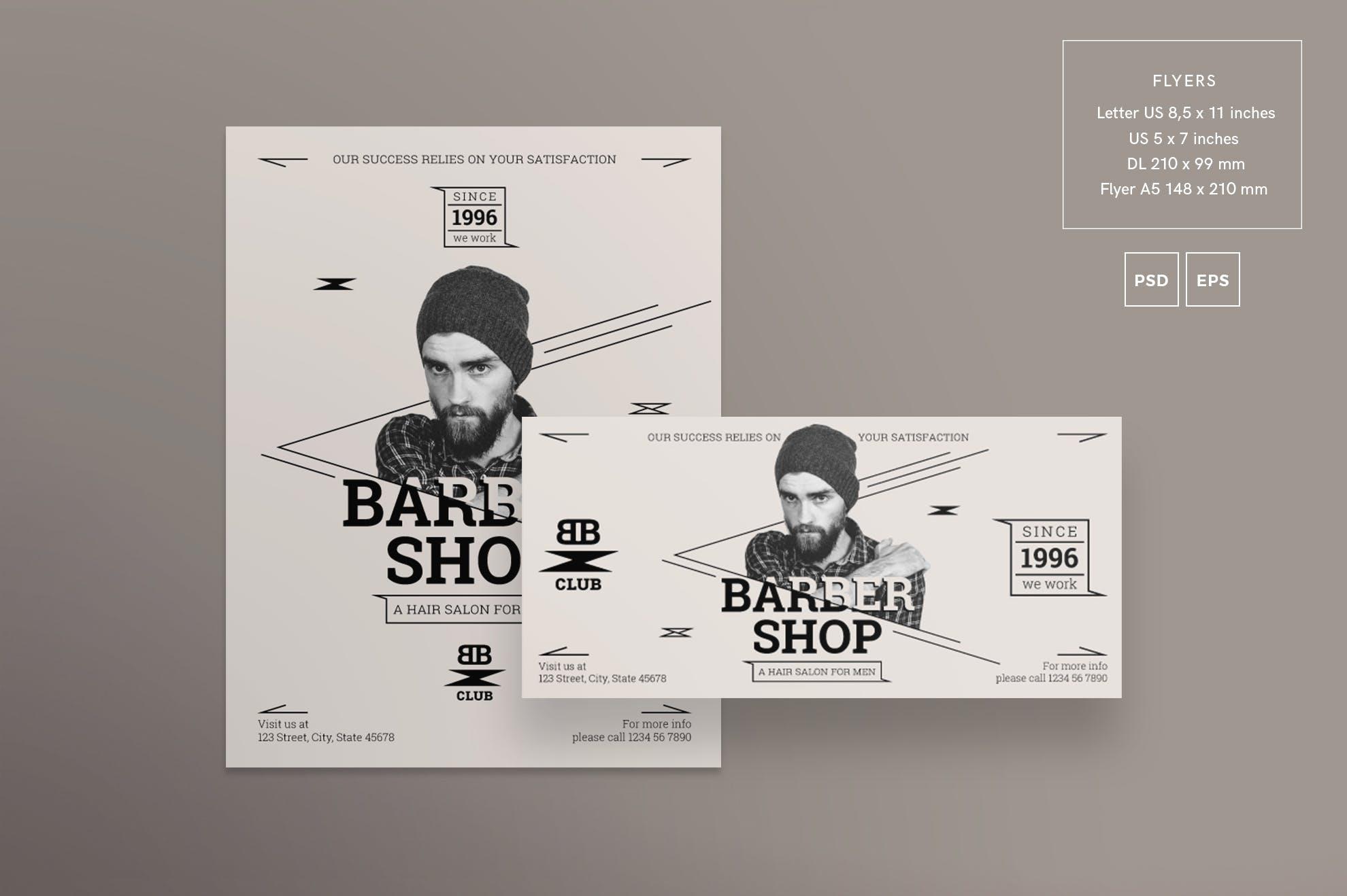 理发店服务传单和海报模板Barbershop Services Flyer and Poster Template