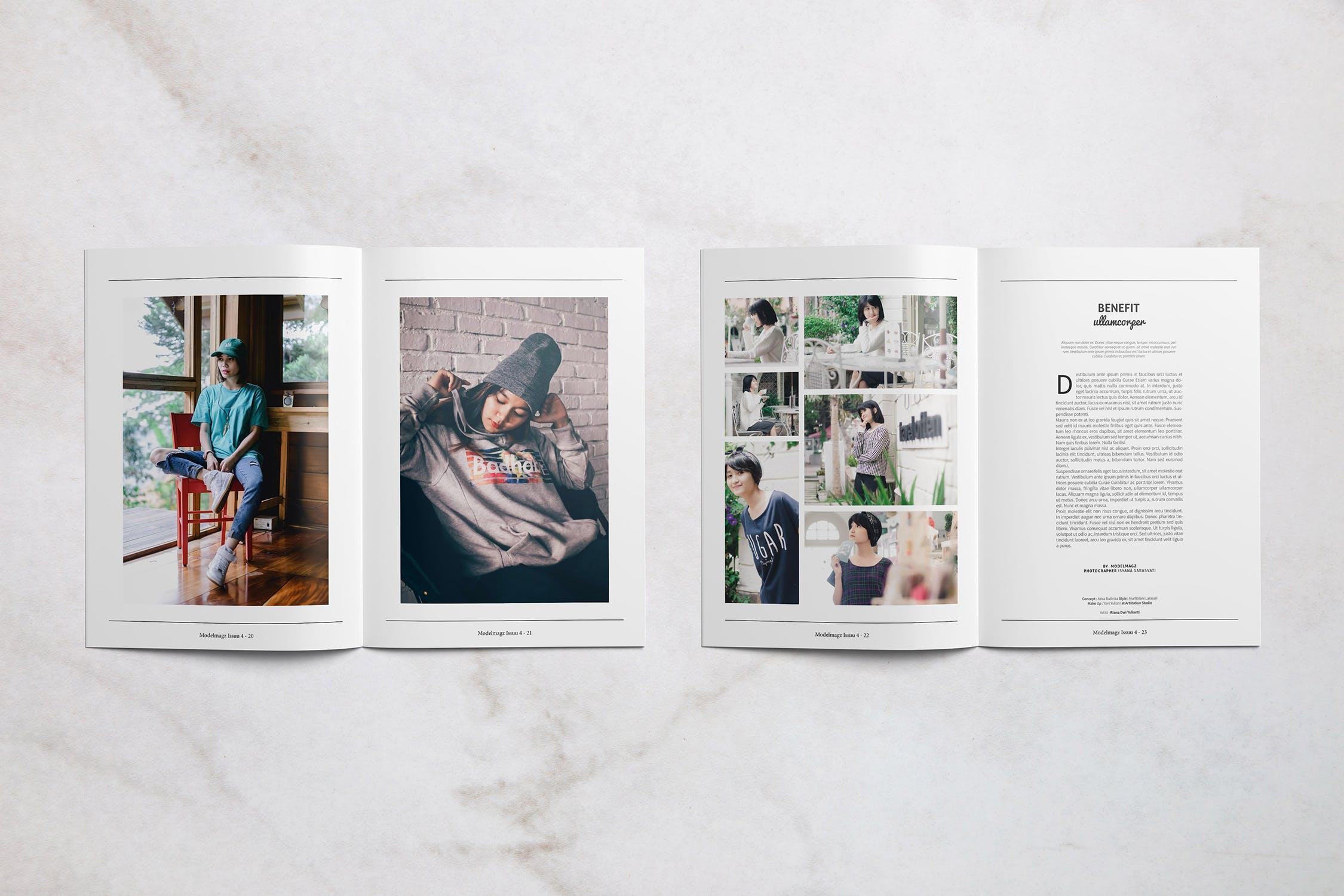 女性时尚服装杂志模板样机素材展示Modelmagz Magazine