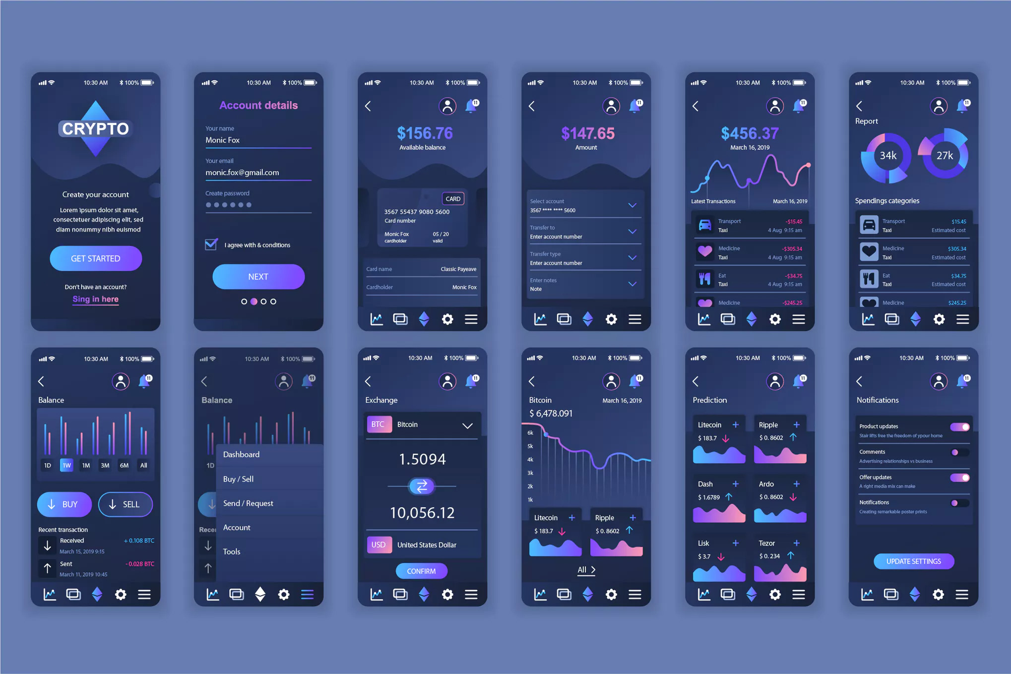 深色风格数据分析图表APP Cryptocurrency Mobile App UX and UI Kit