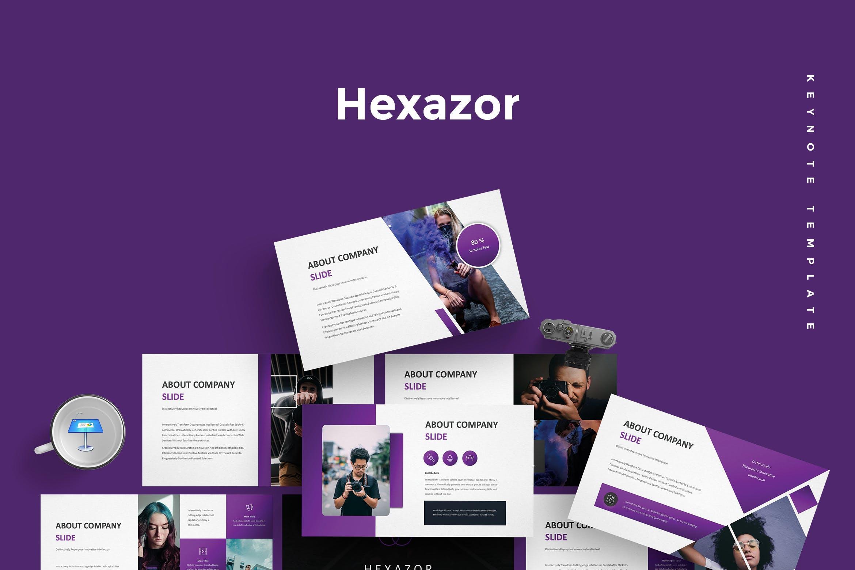 欧美时尚摄影紫色风格Keynote主题模板 Hexazor - Keynote Template