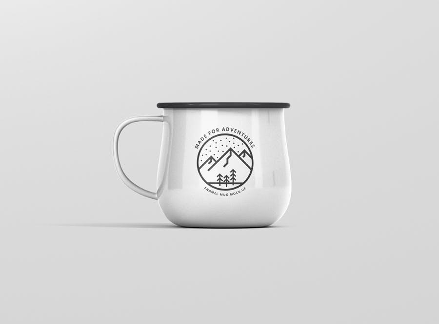 8个高分辨率圆形搪瓷杯样机Round Enamel Mug Mockup