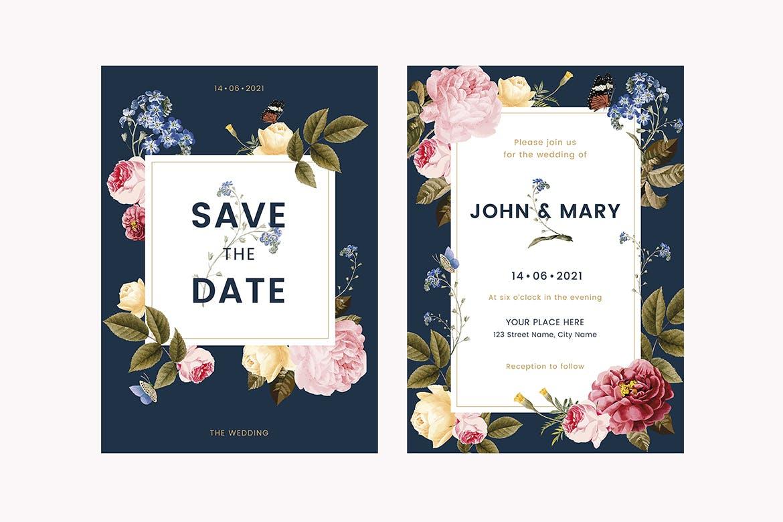 花卉婚礼邀请卡模板Floral Wedding Invitation Card Template 7AG7