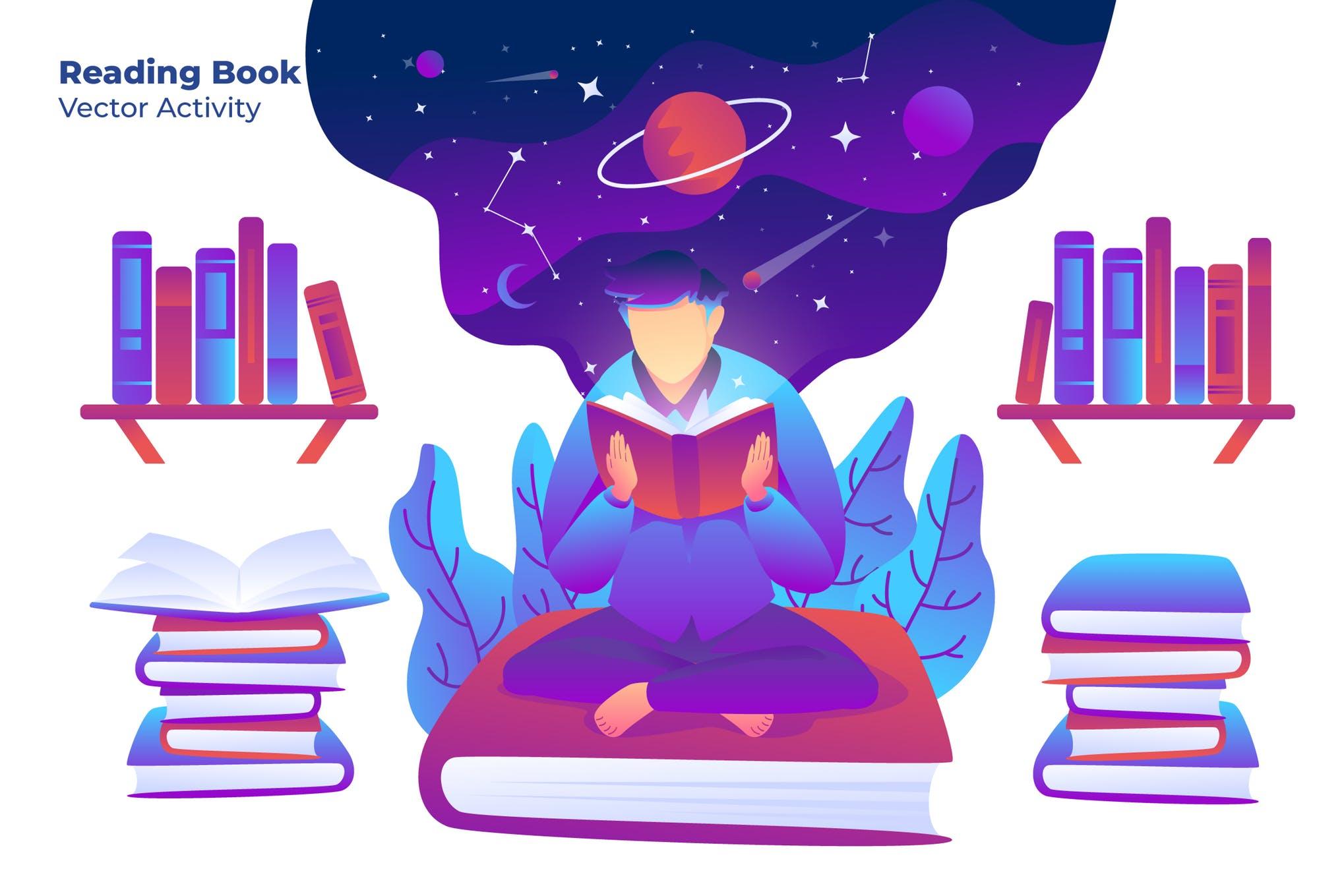 学习阅读场景插画素材下载Reading Book - Vector Illustration