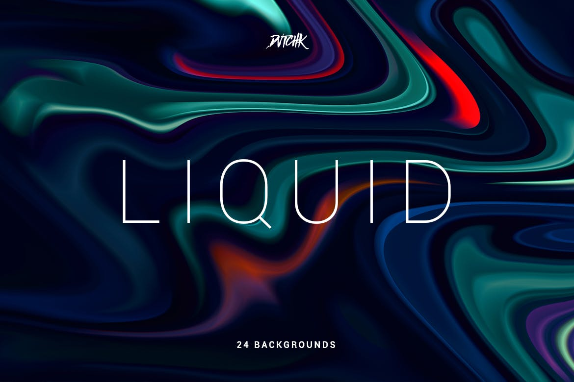 24条波浪七彩线条背景Liquid | Colorful Abstract Backgrounds
