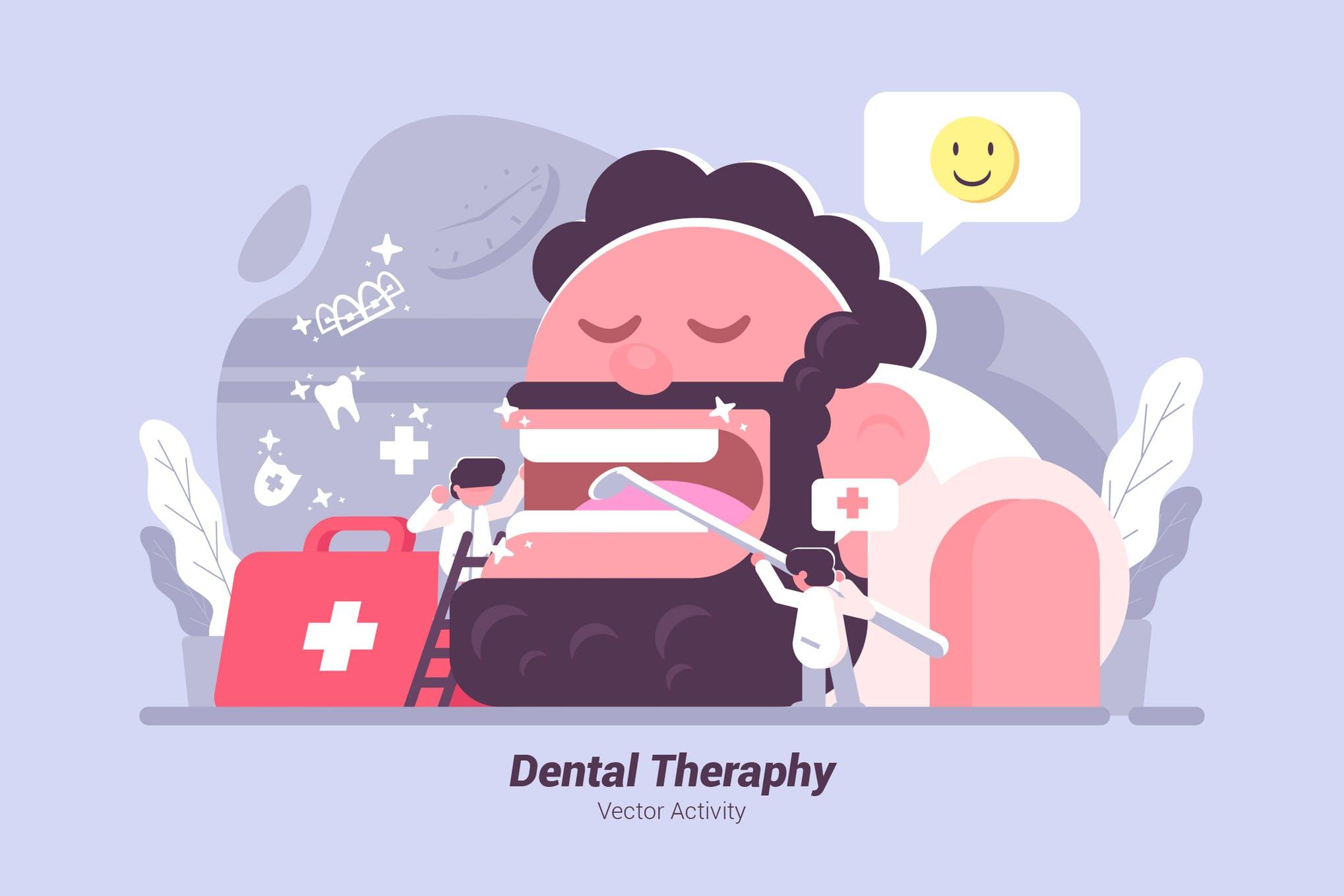 牙齿护理医疗场景创意插画素材下载Dental Theraphy - Vector Illustration