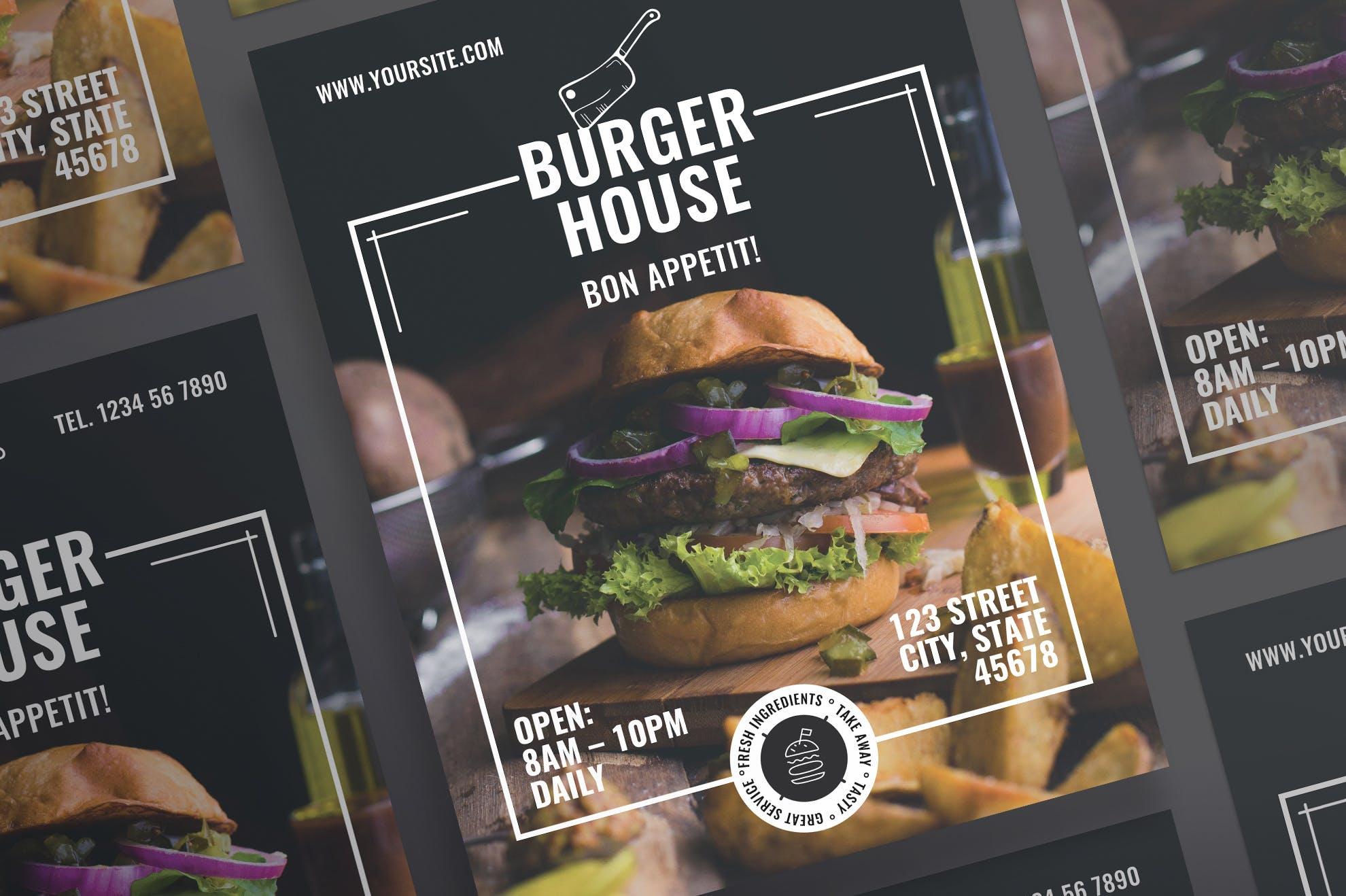 汉堡餐厅传单和海报模板Burger Restaurant Flyer and Poster Template