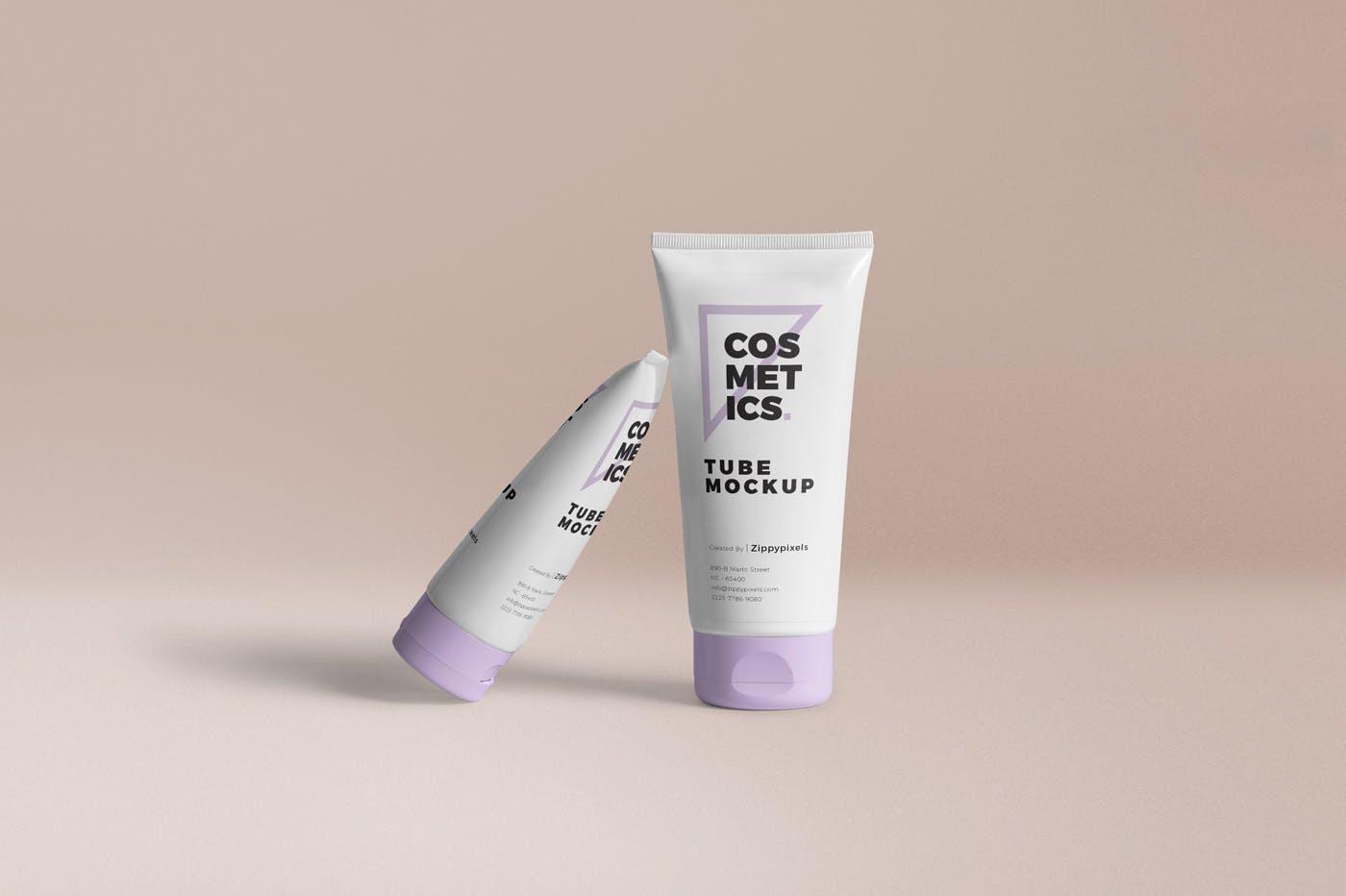 洗化用品样机素材模板展示效果图样机展示Cosmetic Packaging Tube Mockups