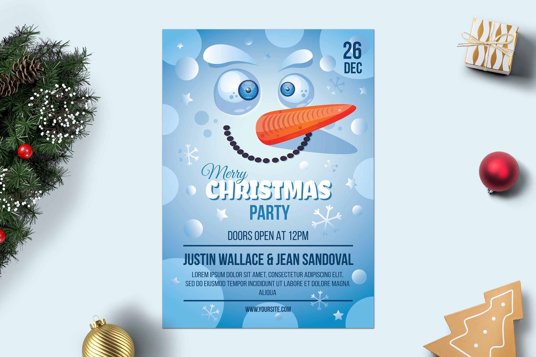 雪人的圣诞快乐海报Merry Christmas Poster With Snowman