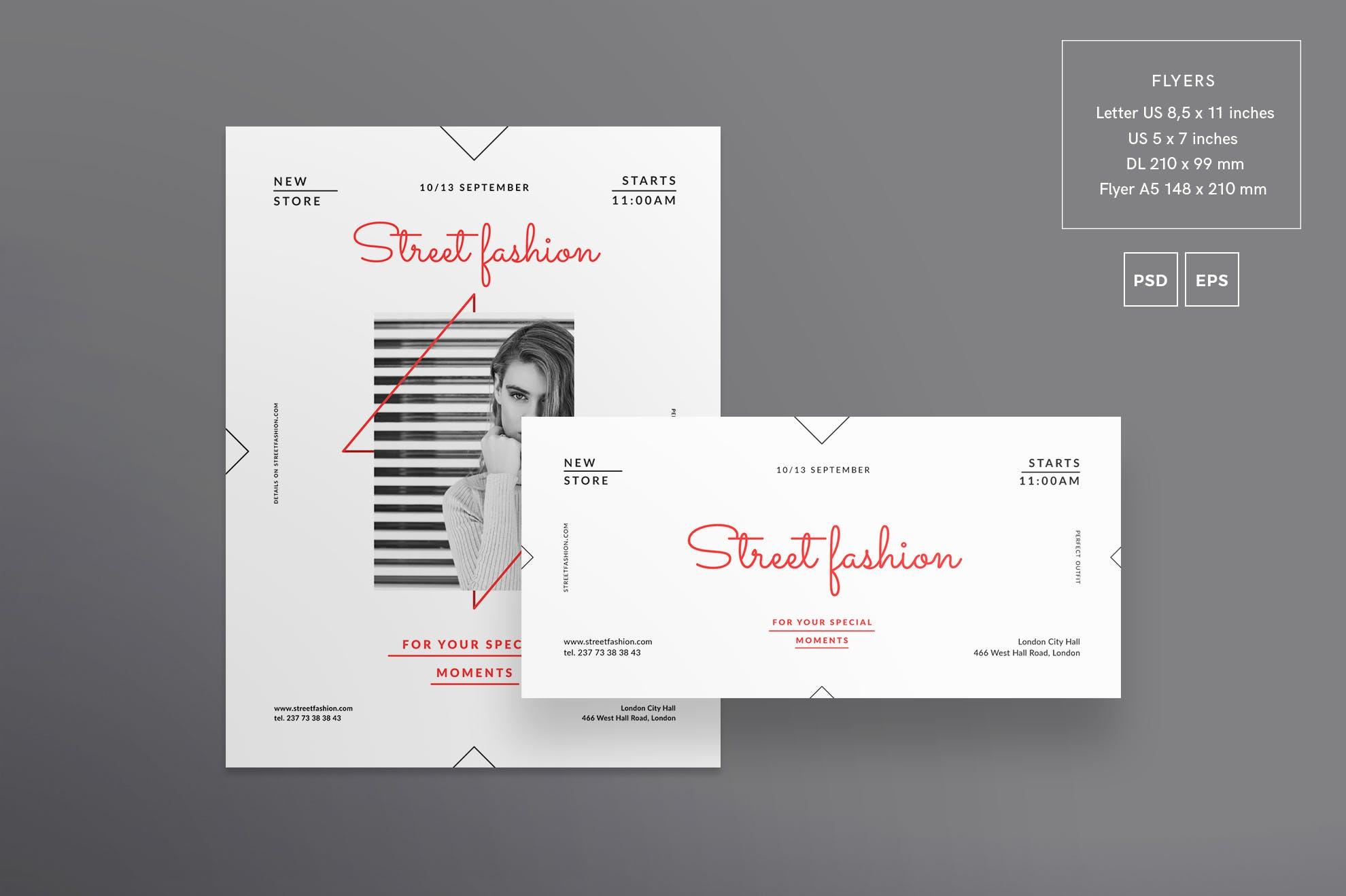 时尚商店服装几何图形传单和海报模板Fashion Store Flyer and Poster Template