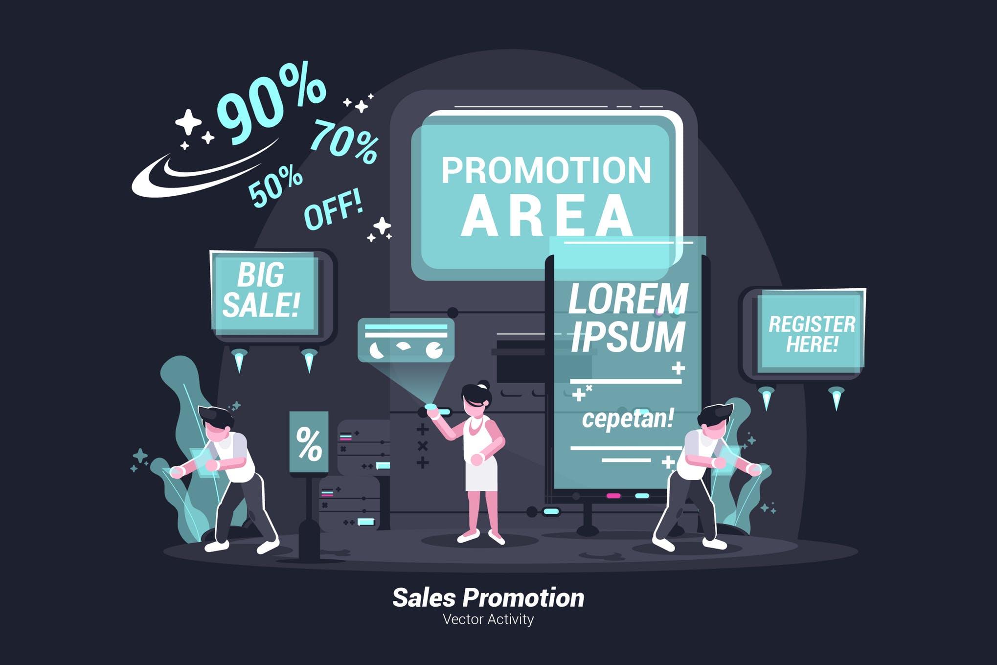 促销类插画场景创意设计素材下载Sales Promotion - Vector Illustration