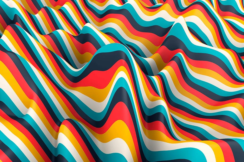 多彩色条纹波背景Multi-colored Striped Waves Backgrounds