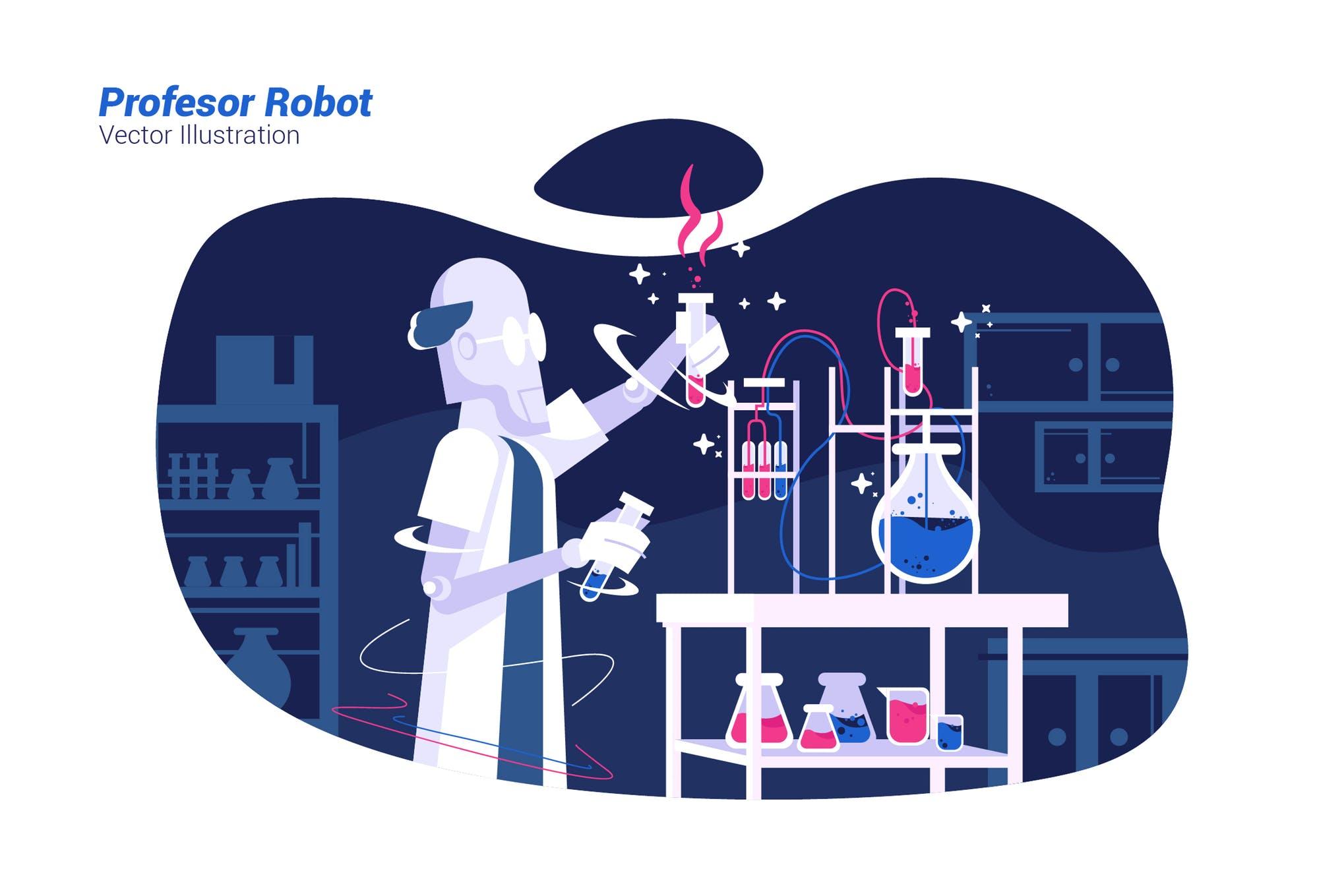 机器人实验室场景插画素材下载Profesor Robot - Vector Illustration