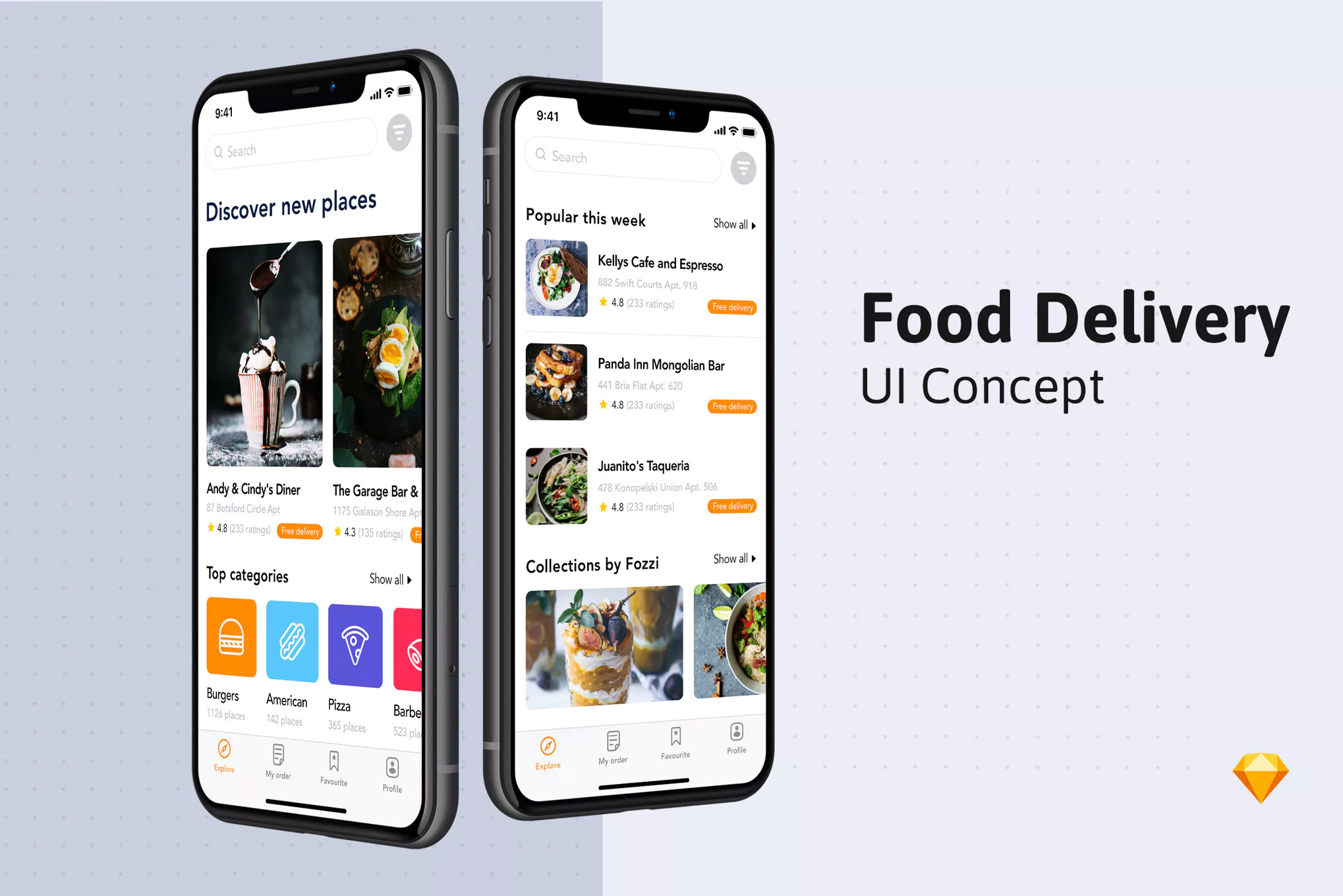 IOS12风格食物餐饮点餐App  Food Delivery App UI Concept