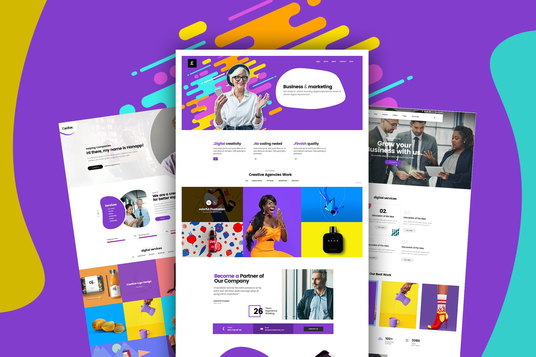 WEB端现代时尚创意商务办公网站PSD模版 Creative And multiple Business Website For Company
