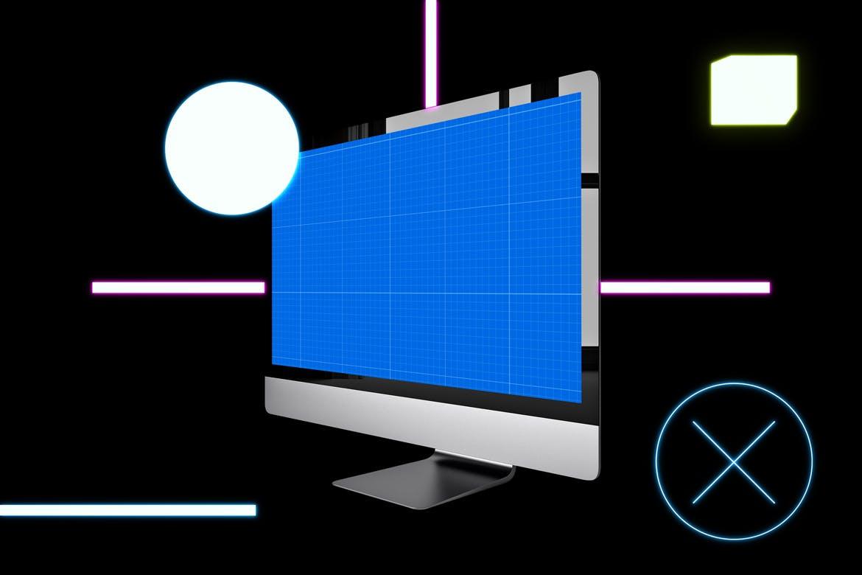 暗黑场景模板素材样机展示Neon iMac Pro