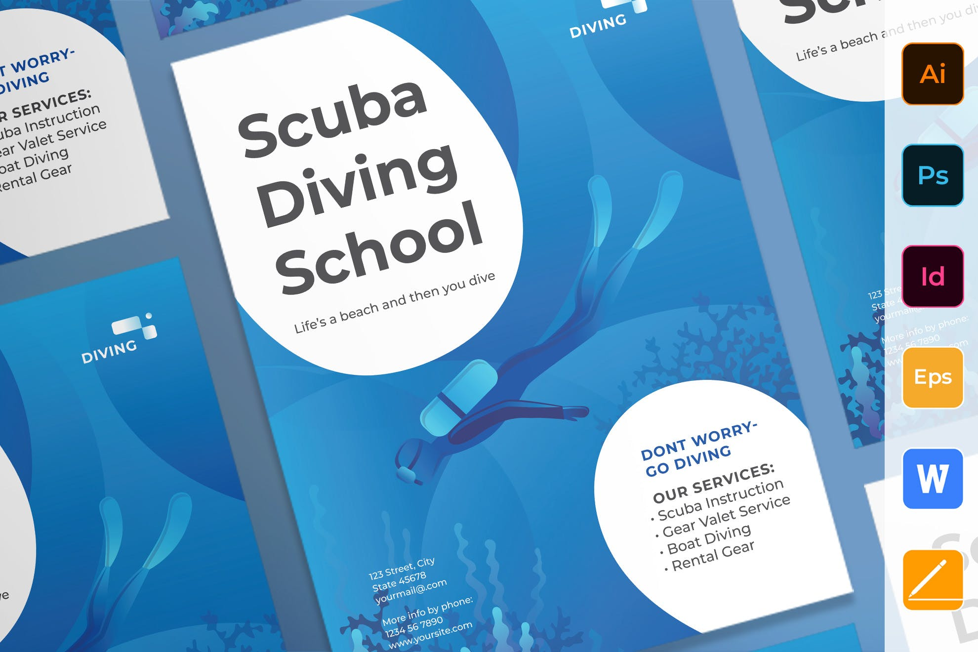 潜水学校海报/传单Diving School Poster
