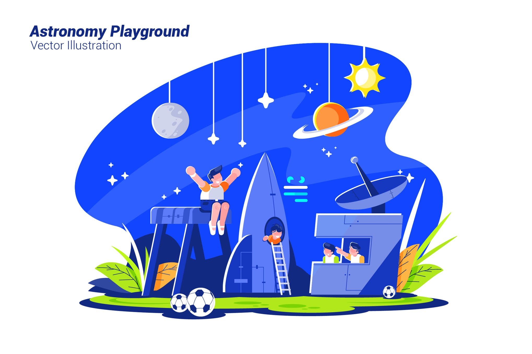 天文游乐场场景插画素材下载Astronomy Playground - Vector Illustration