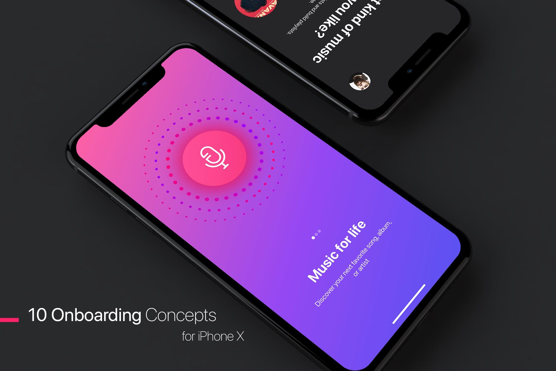 精致苹果手机模板素材展示Walkthrough - Mobile UI Kit for iPhone X