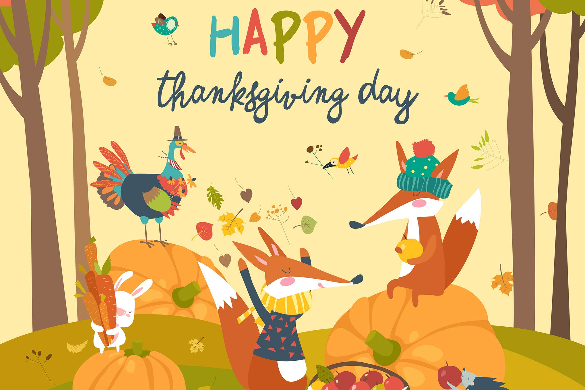 感恩节动物系列创意插画素材下载Cute animals celebrating Thanksgiving day. Vector