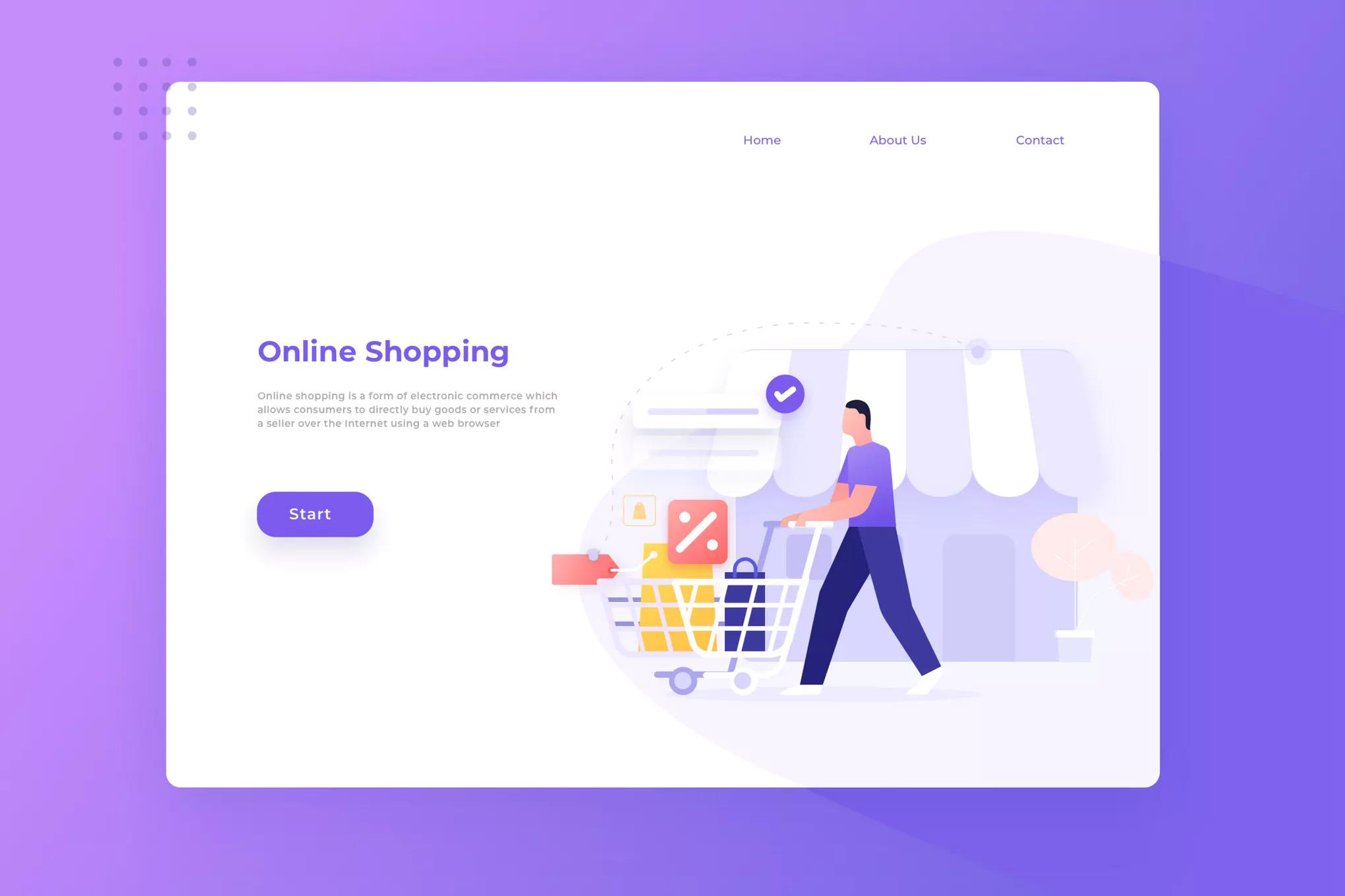 WEB端在线购物登陆页面插画风格模版 Online Shopping Landing Page Illustration
