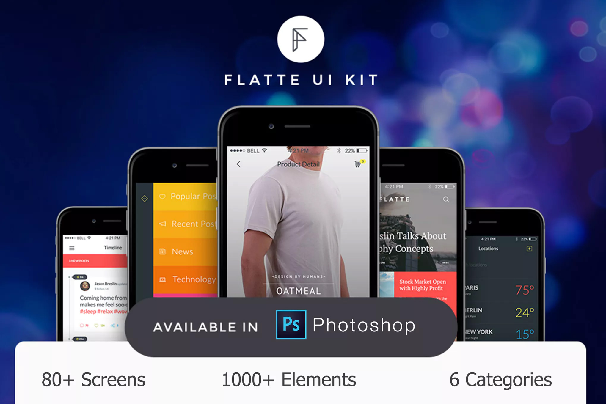 国外电商购物APP  Flatte UI Kit - 80++ for Photoshop