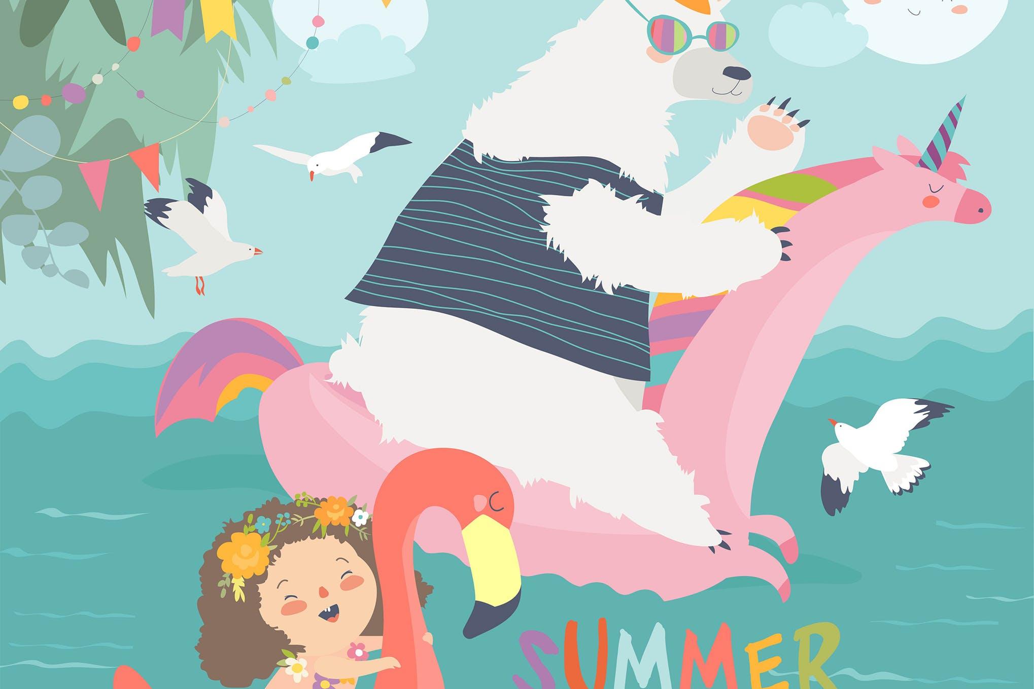 卡通系列插画素材下载Cute girls and polar bear with a swimming circles.