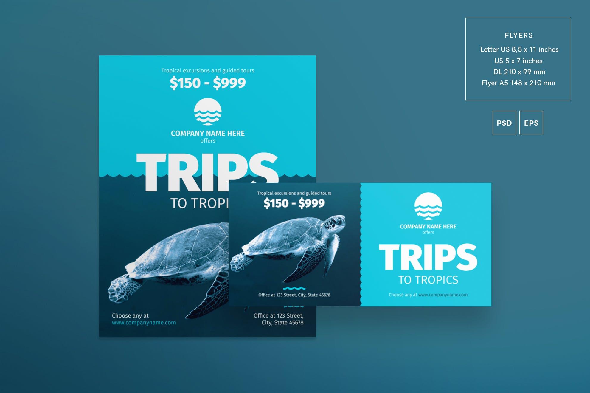 创意海报传单和海报模板Travel Agency Flyer and Poster Template
